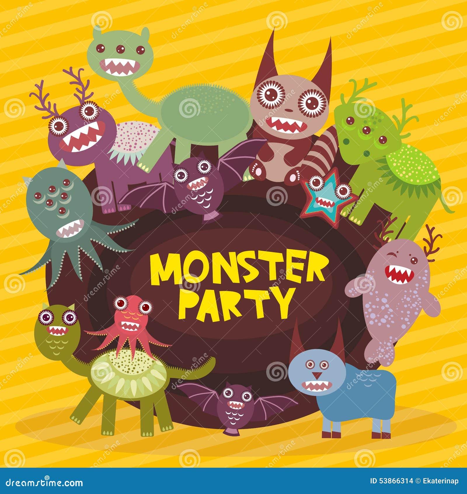 Les monstres drôles font la fête le design de carte sur le fond rayé jaune Vecteur