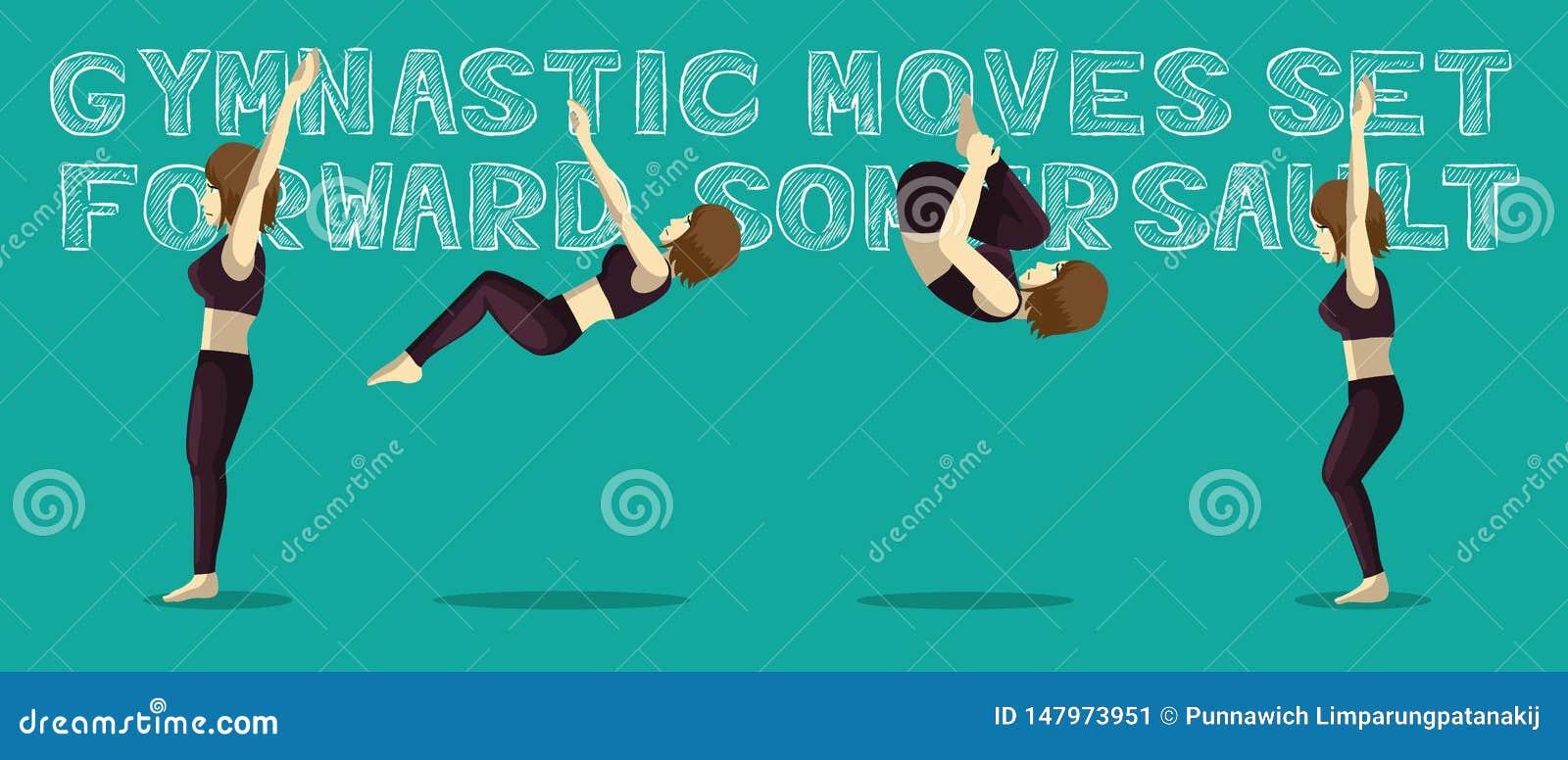 Les mouvements gymnastiques ont placé le saut périlleux en avant Manga Cartoon Vector Illustration
