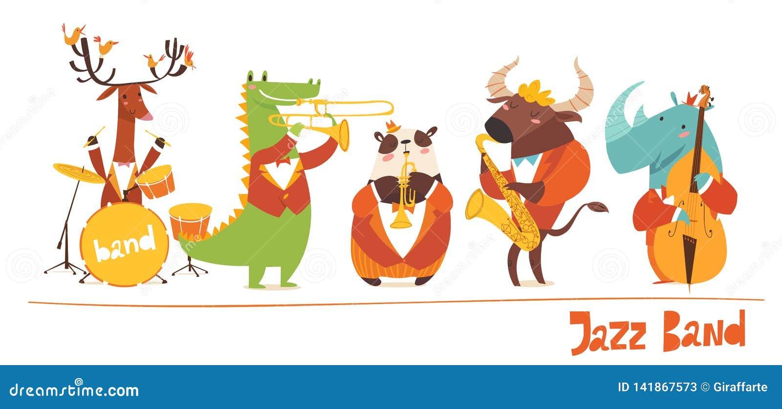 Les musiciens drôles d animaux dirigent des caractères Jazz Music