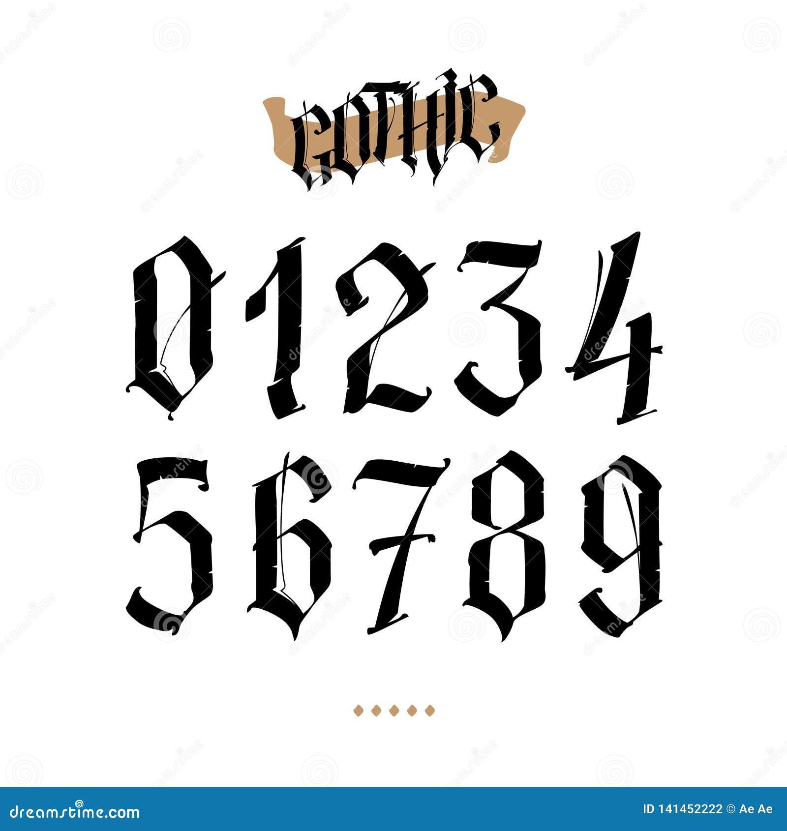 Les Nombres Sont Dans Le Style Gothique Vecteur Symboles D