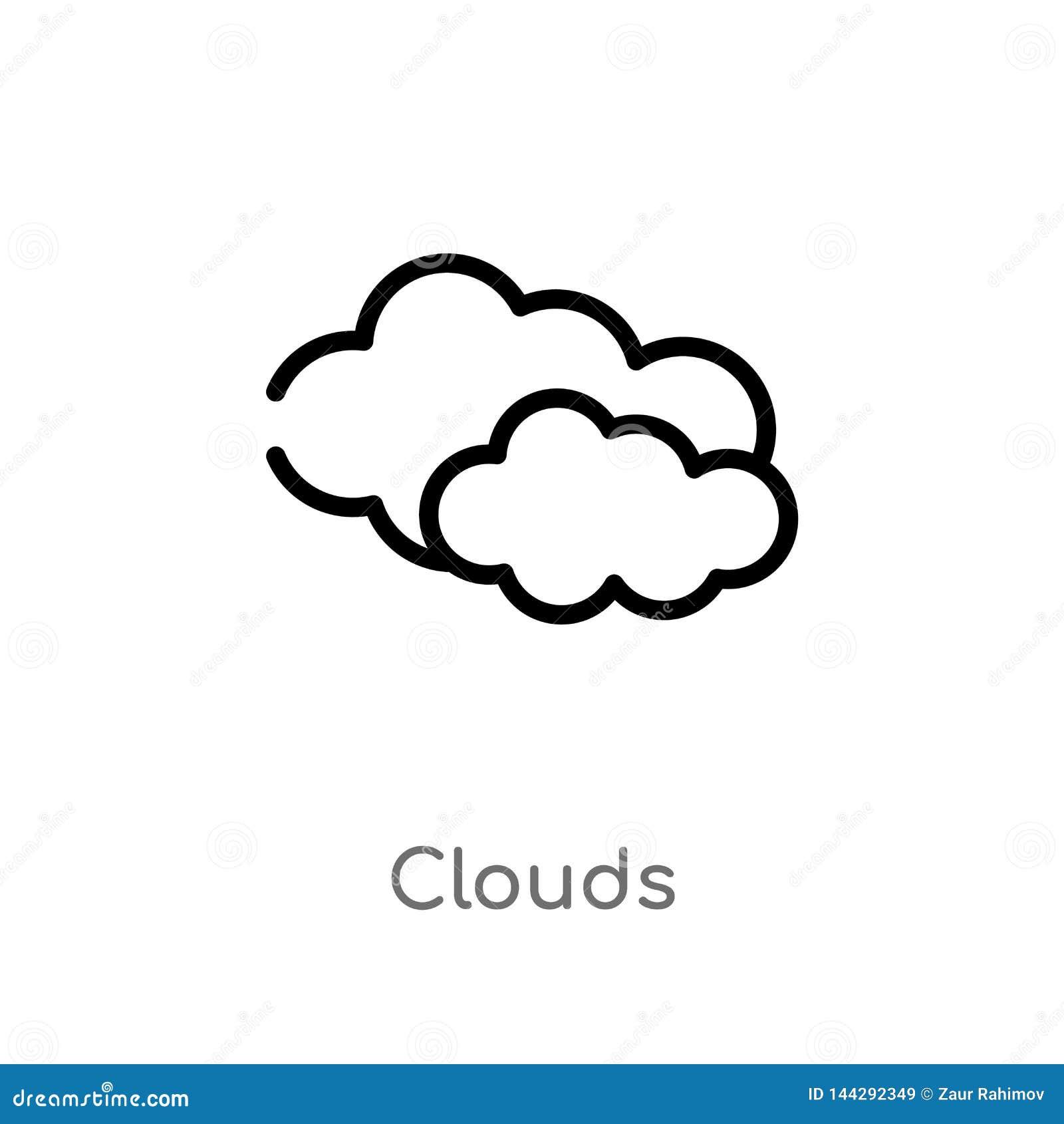 Les nuages d ensemble dirigent l ic?ne ligne simple noire d isolement illustration d ?l?ment de concept de nature nuages editable
