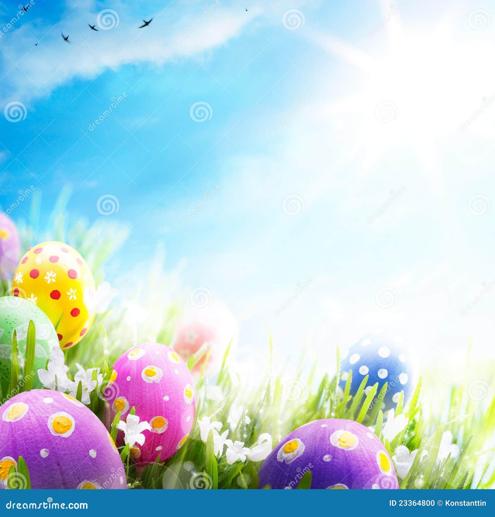 Les oeufs de pâques d art ont décoré le ciel bleu d herbe de fleurs