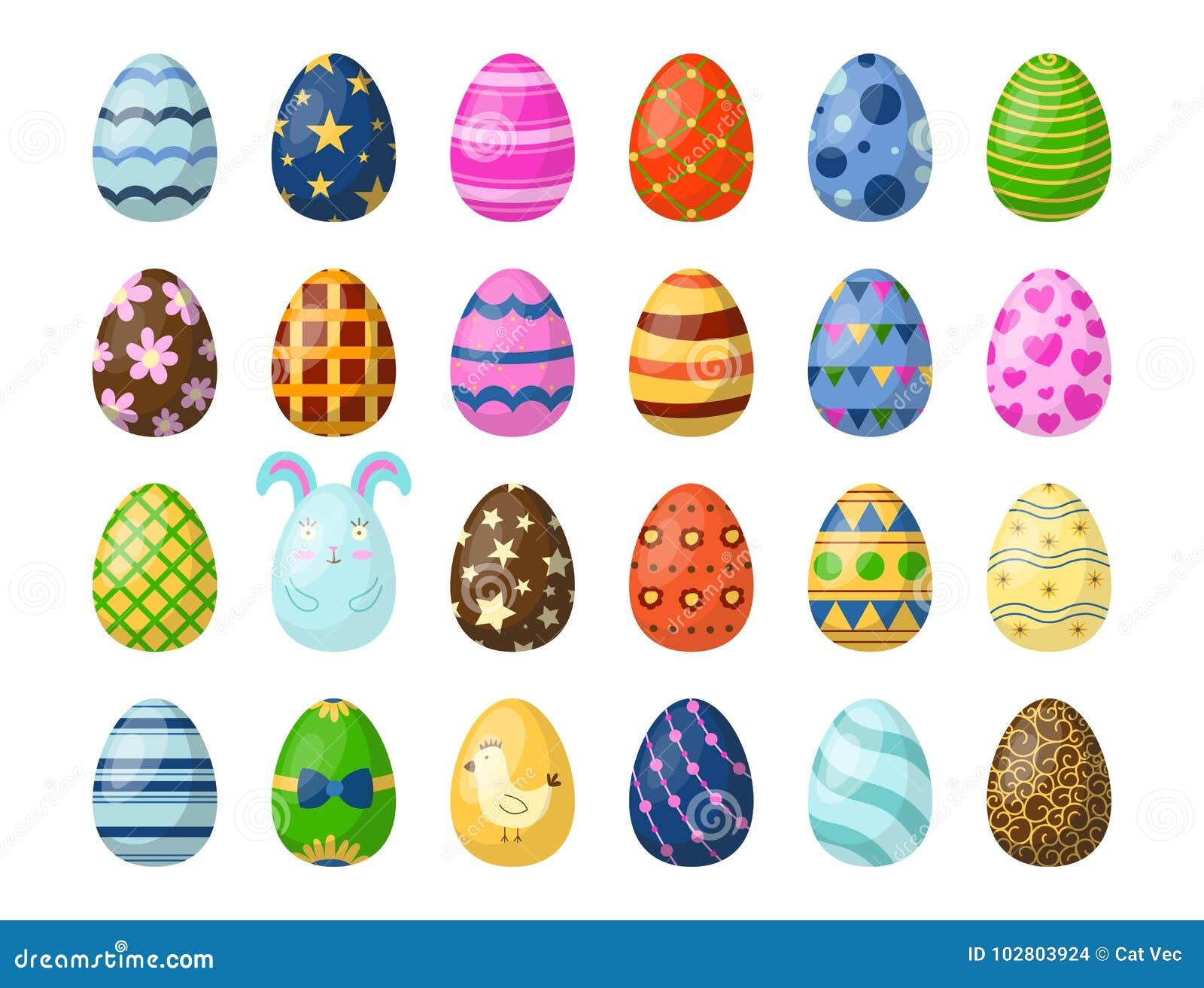 Les oeufs de pâques peints avec le ressort modèlent l illustration colorée multi de vecteur de jeu de vacances d aliment biologiq