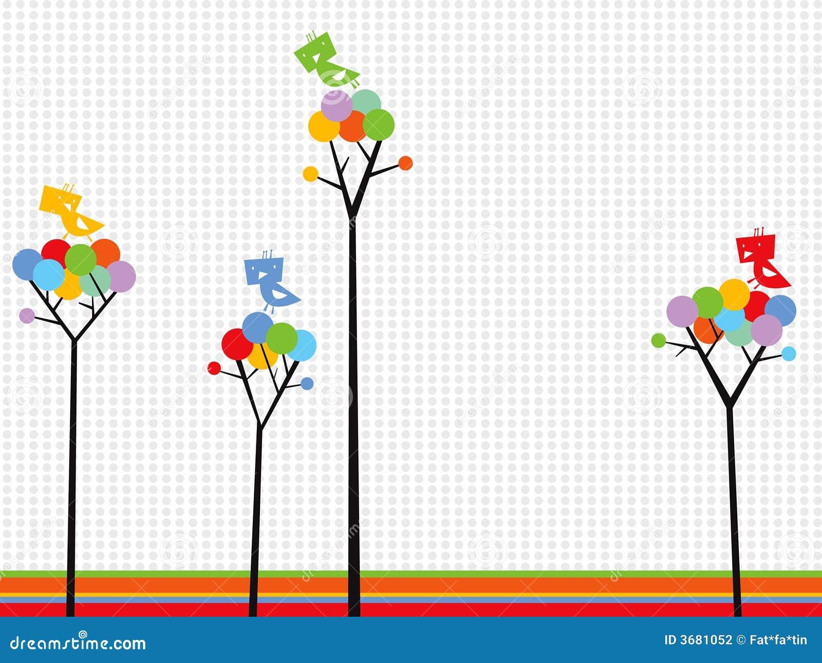 Les oiseaux mignons sur la couleur pointille des arbres