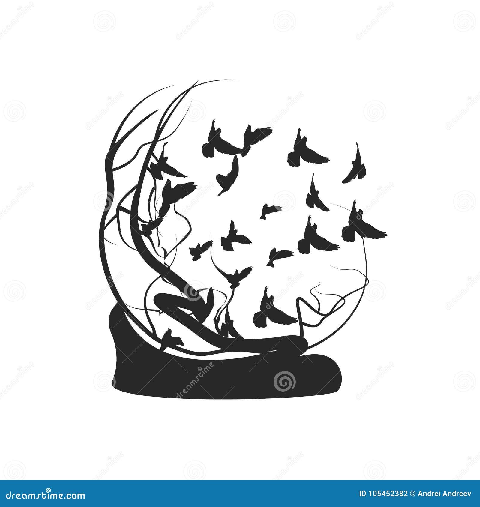 Les Oiseaux Volent à Partir De Larbre Dessin Noir Et Blanc