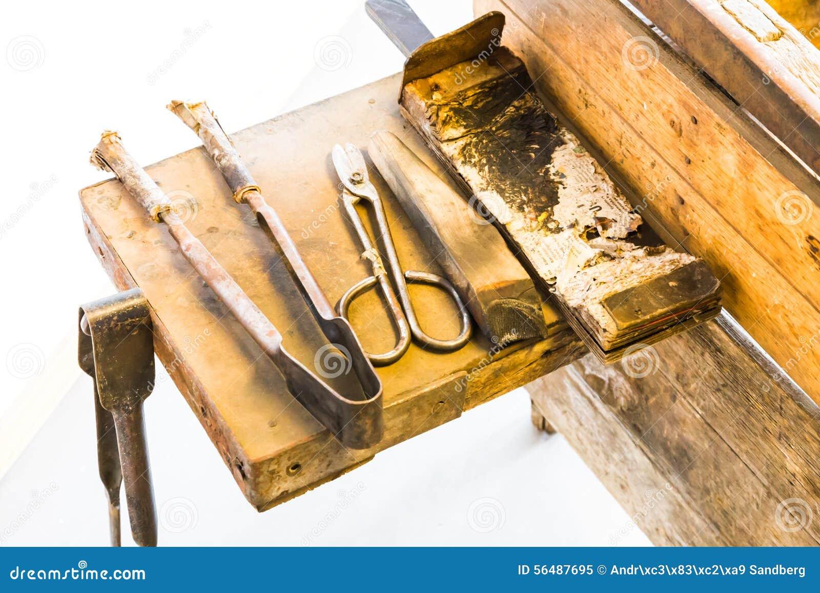 Les outils du vieux souffleur de verre
