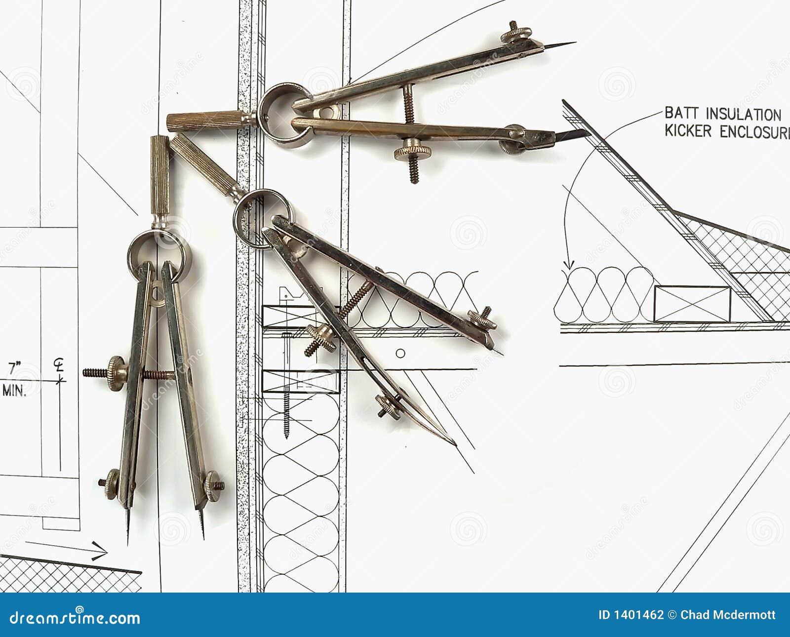 Les Outils Et Les Plans De L 39 Architecte Photographie Stock