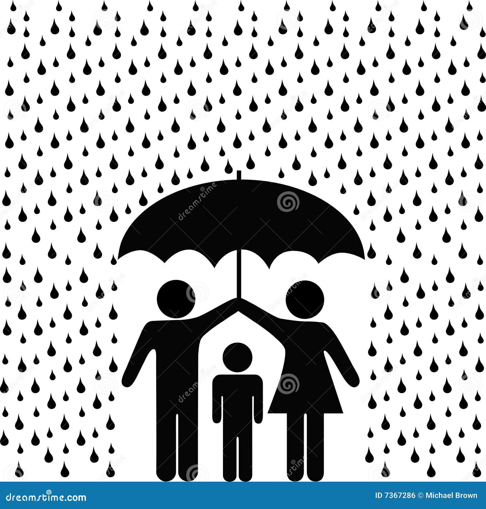 Les parents d enfant protègent le parapluie de pluie