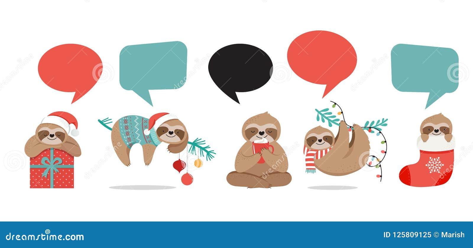Les paresses mignonnes, les illustrations drôles de Noël avec des costumes de Santa Claus, le chapeau et les écharpes, cartes de