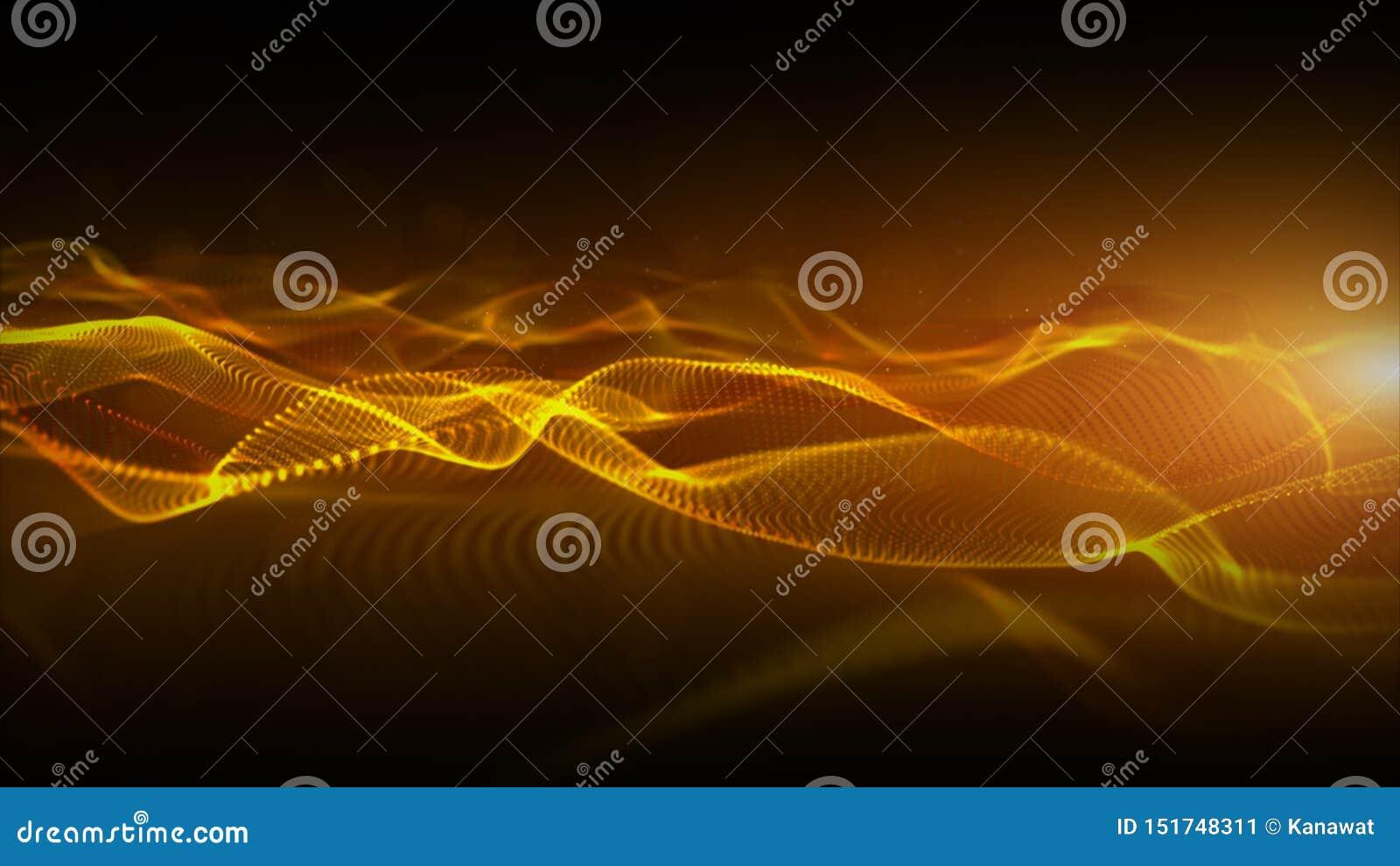 Les particules numériques de couleur abstraite d or ondulent avec le fond de mouvement de bokeh et de lumière