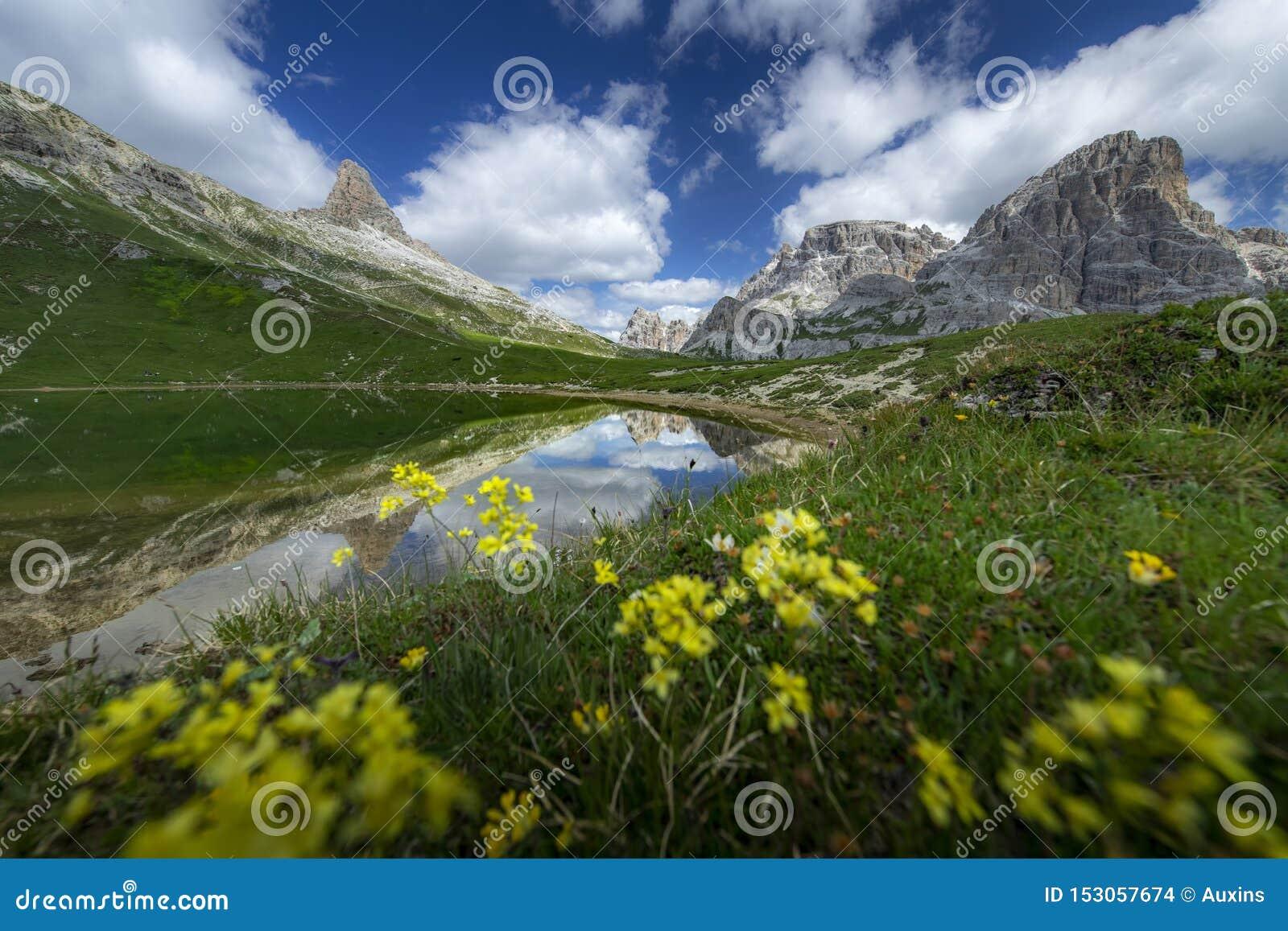 Les paysages stupéfiants regardent de l étang et de la montagne verte avec le ciel bleu l été des dolomites, Italie