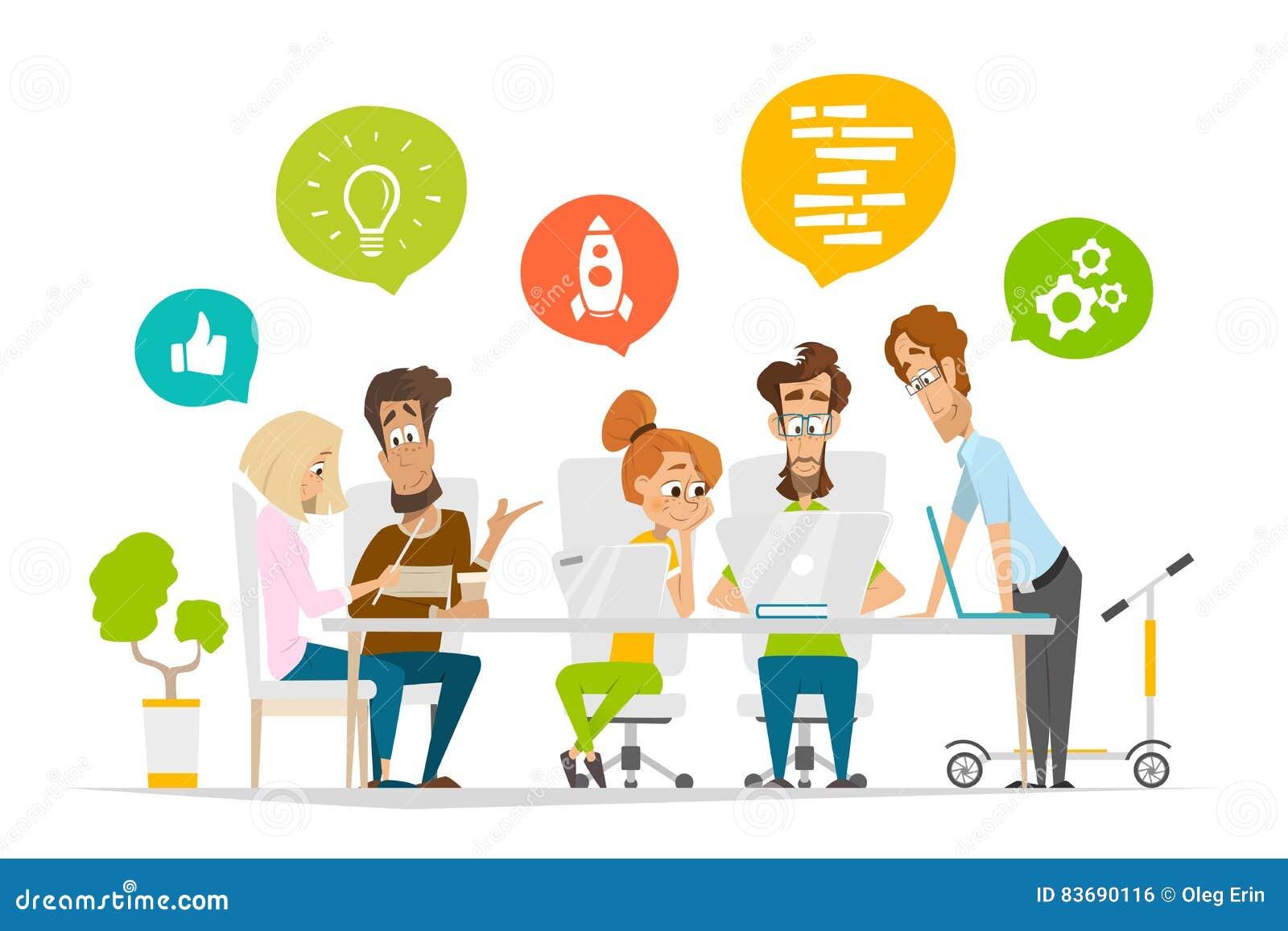 Les personnes de caractères d affaires team le travail d équipe de scène dans le bureau moderne