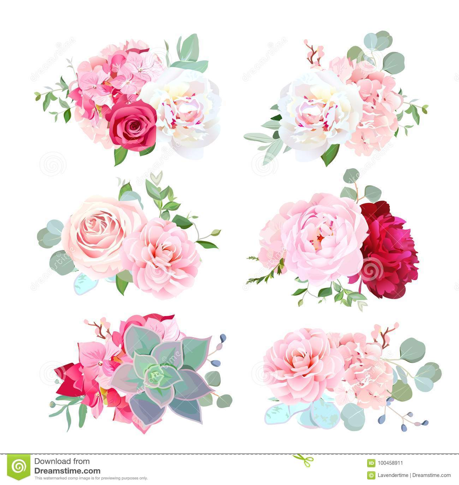 Les petits bouquets de mariage de la pivoine, hortensia, camélia, se sont levés, succ