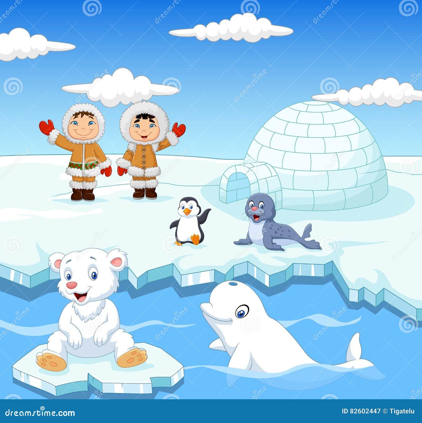 Les Petits Enfants Esquimaux Avec Les Animaux Arctiques Et L Igloo
