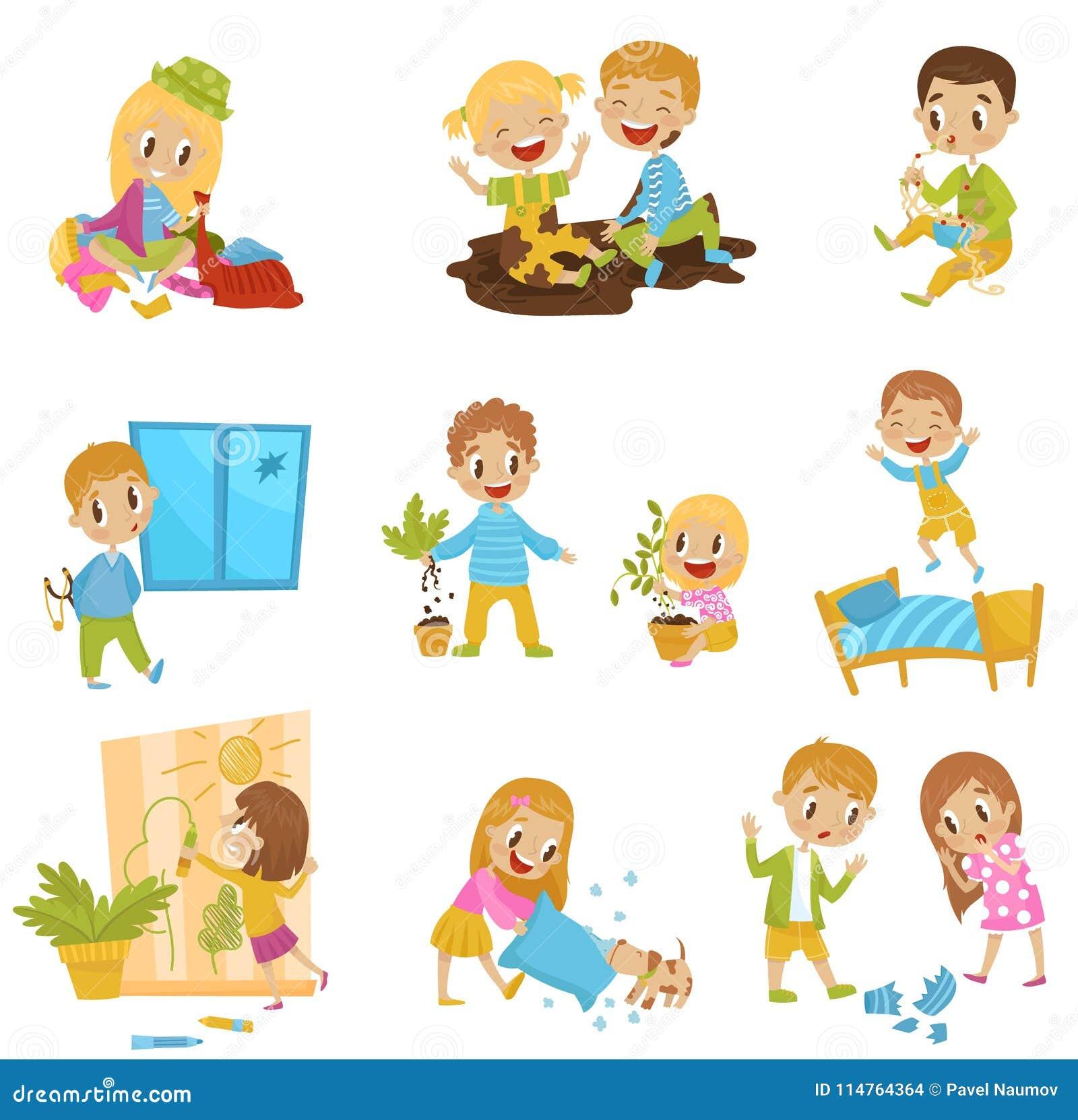 Les petits enfants mignons de despote ont placé, les enfants gais de truand, mauvaises illustrations de vecteur de comportement d