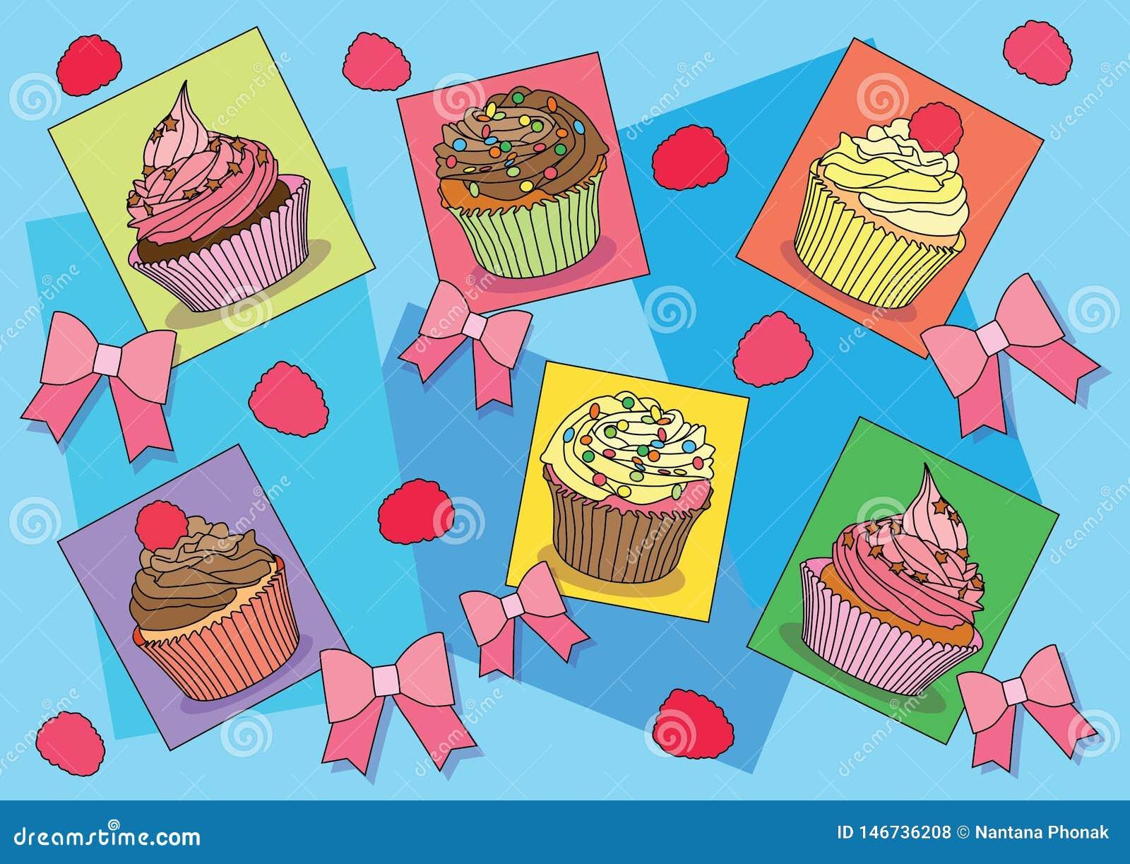 Les petits gâteaux cintrent sur le vecteur d illustration de fond