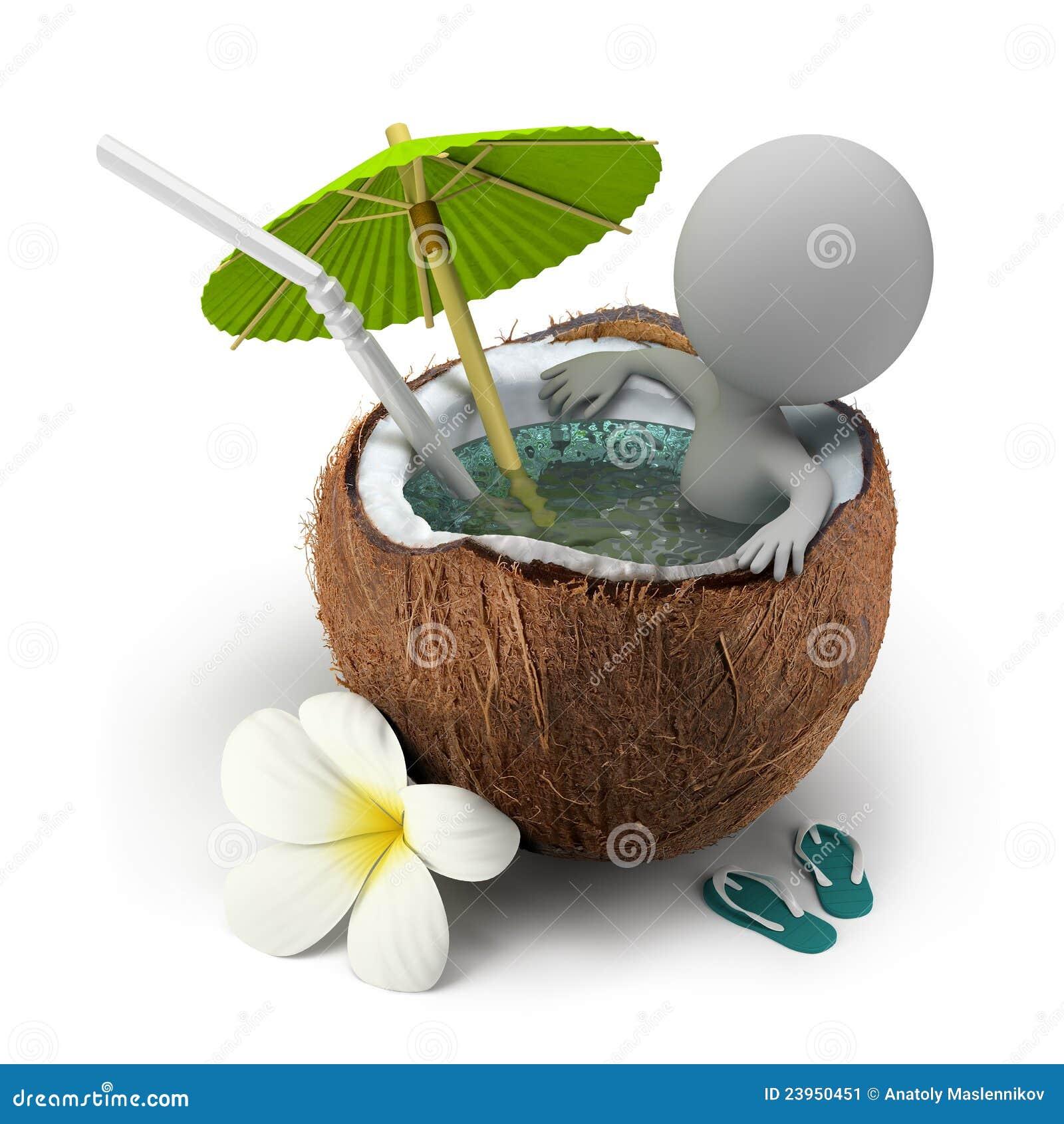 Les petits gens 3d prend une noix de coco de bain - Dessin noix de coco ...