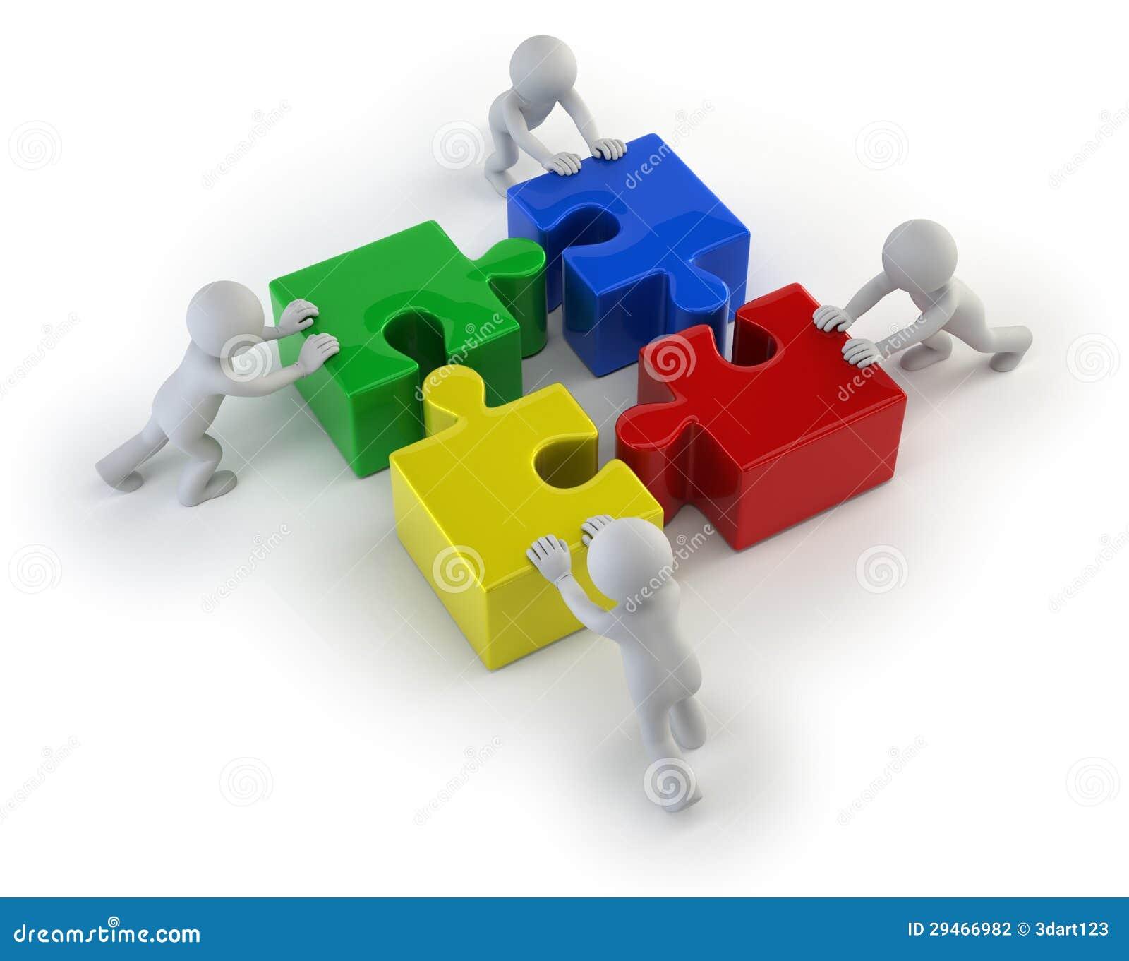 Les petits gens 3d - team avec les puzzles