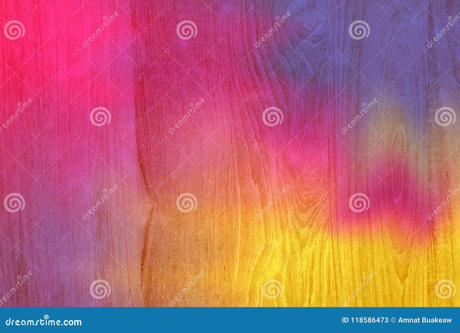 Les Planches En Bois Colorées De Rose Et De Jaune Ont Fendu Le Fond