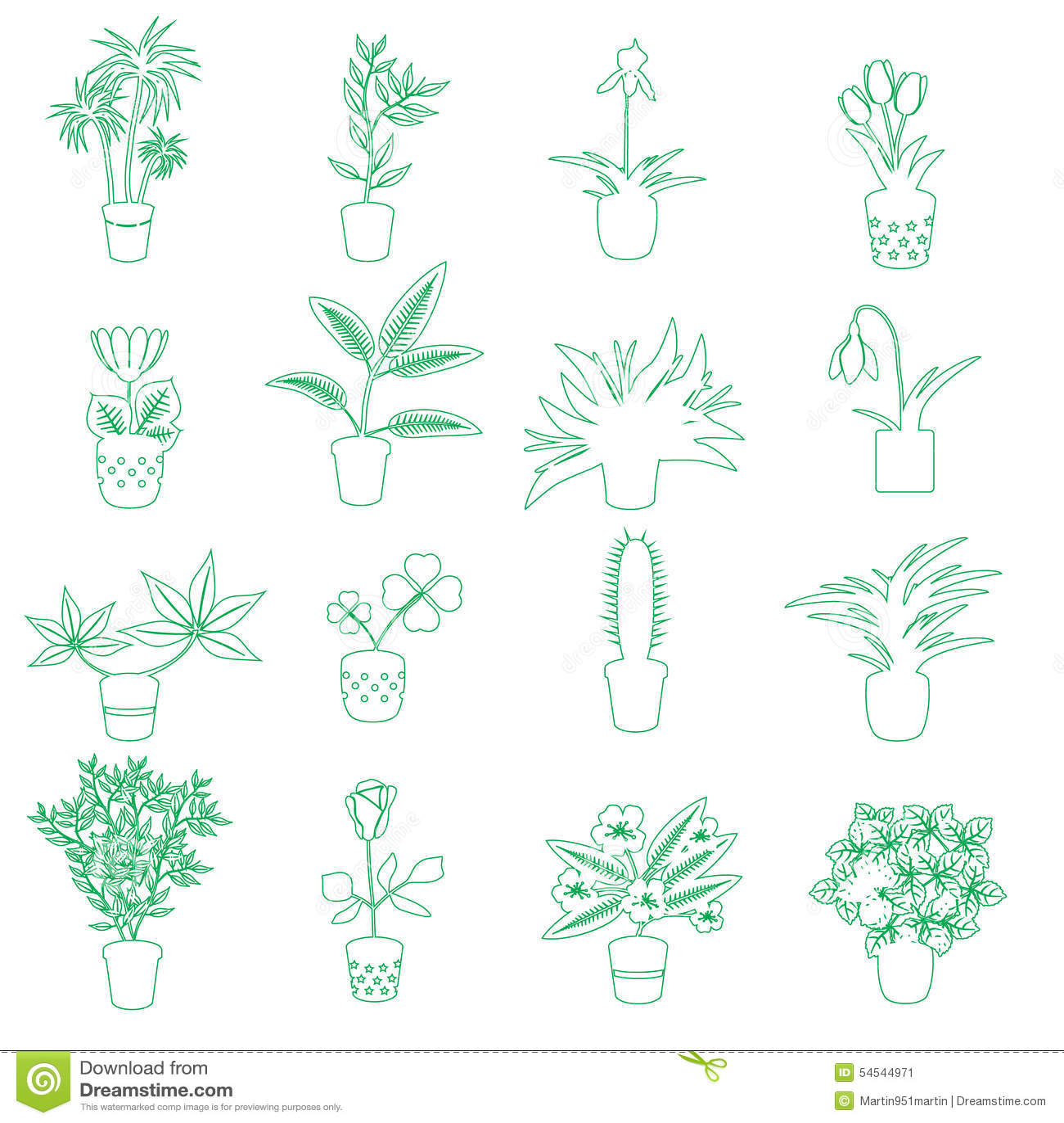 Les plantes d intérieur et les fleurs à la maison dans le pot décrivent les icônes