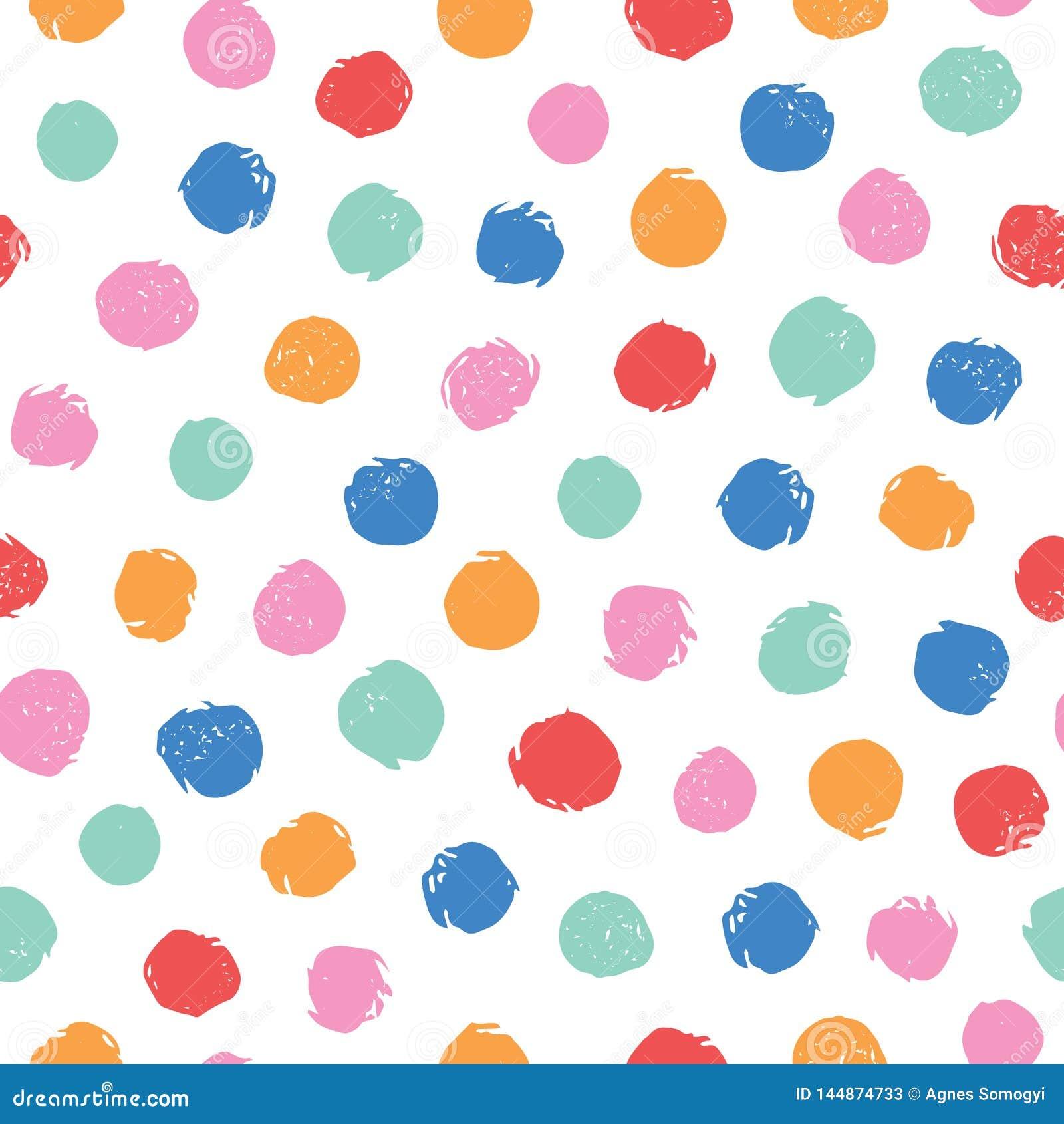Les points de polka irr?guliers color?s dirigent le mod?le sans couture Configuration sans joint dernier cri Rose, jaune, orange,