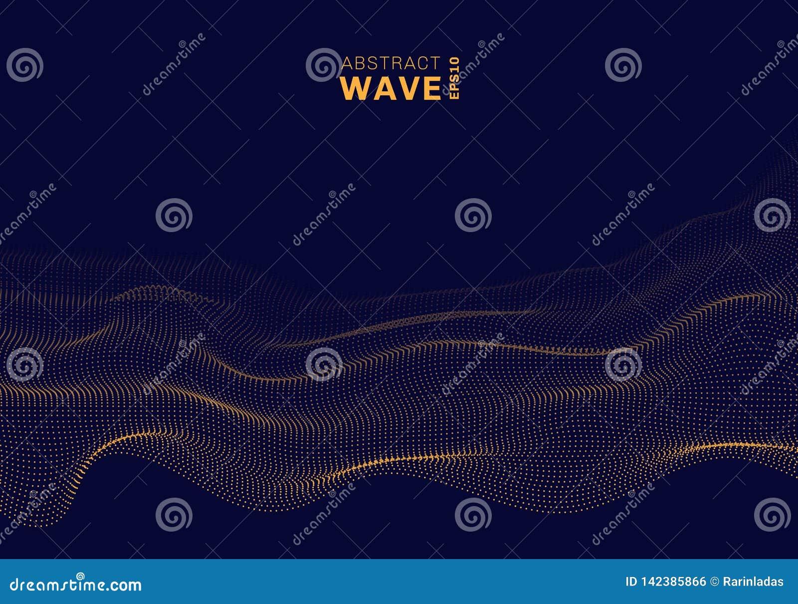 Les points rougeoyants de particules dynamiques du résumé 3D ondulent sur le fond foncé Grande technologie de données