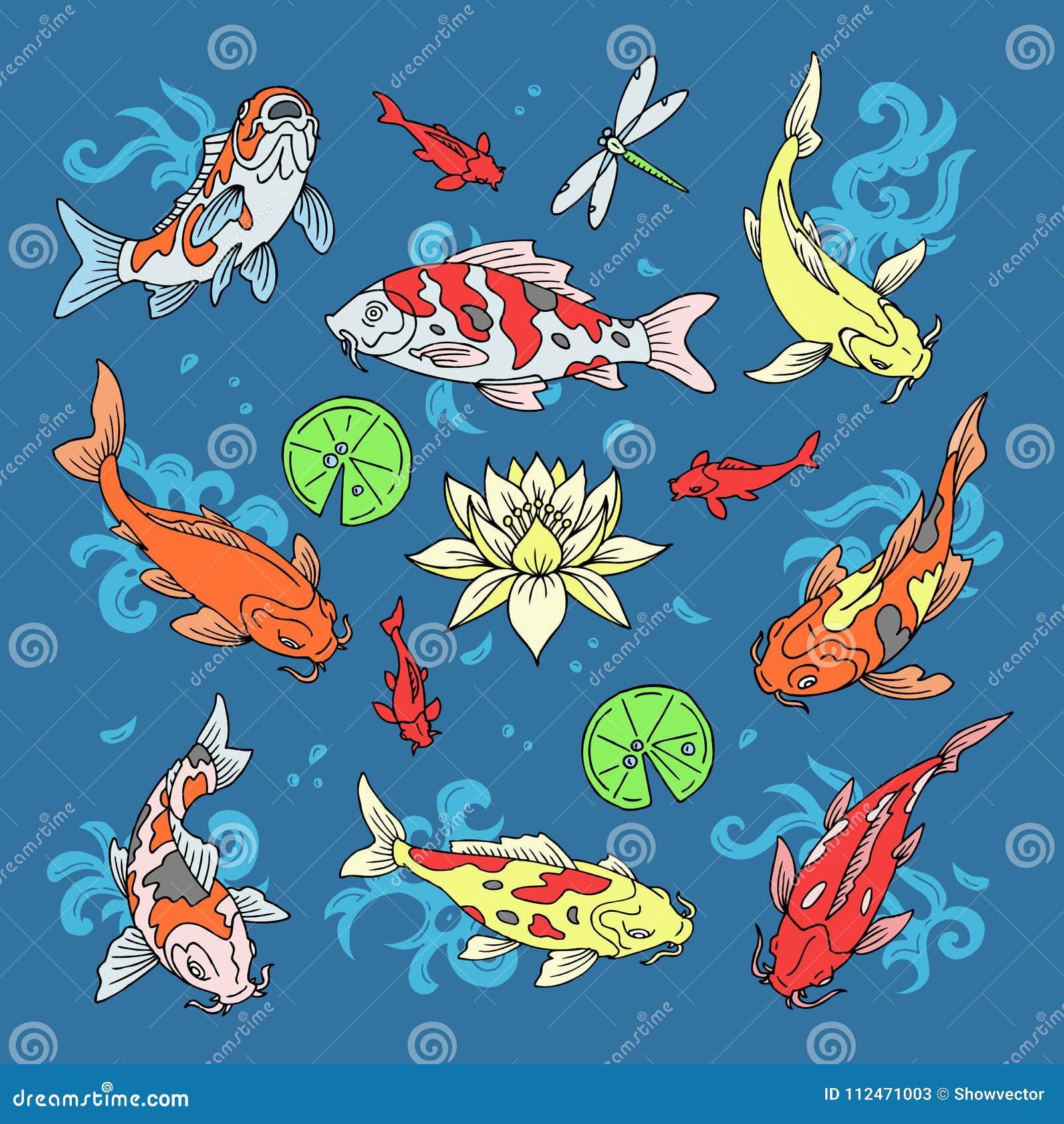 Les poissons de Koi dirigent la carpe japonaise d illustration et le koi oriental coloré dans l ensemble de l Asie de poisson rou