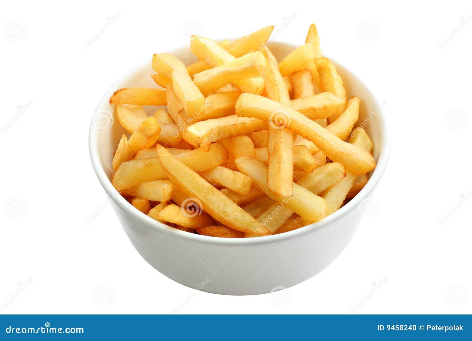 Les pommes frites de cuvette ont complètement isolé le blanc