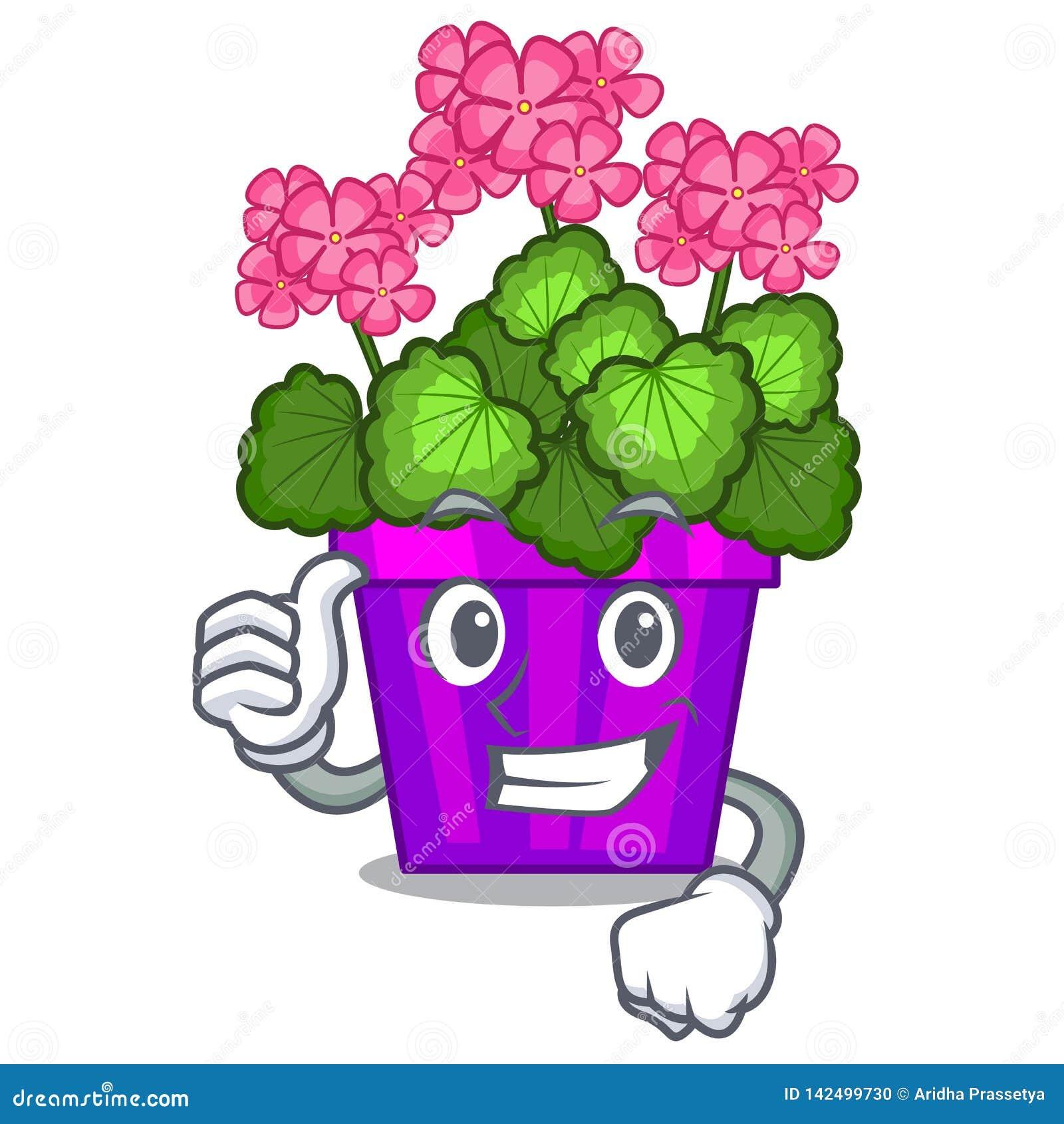 Les pouces vers le haut des fleurs de géranium collent la tige de caractère