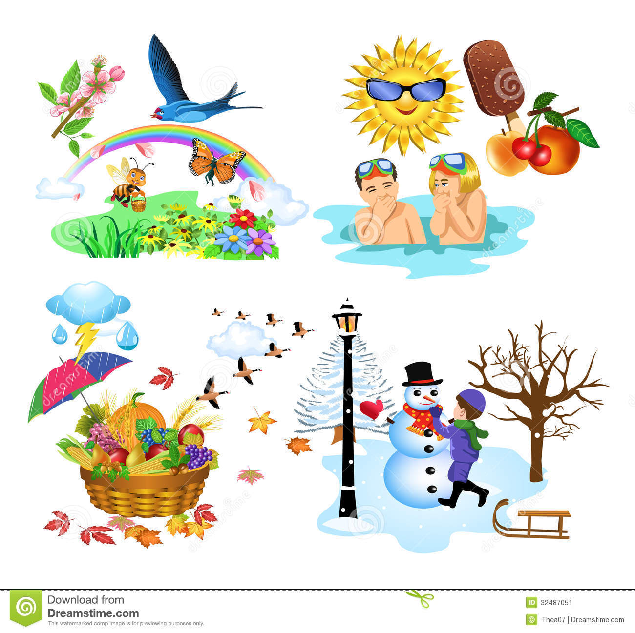 Image Stock Les Quatre Saisons Image32487051 on Worksheet For Preschool To Do