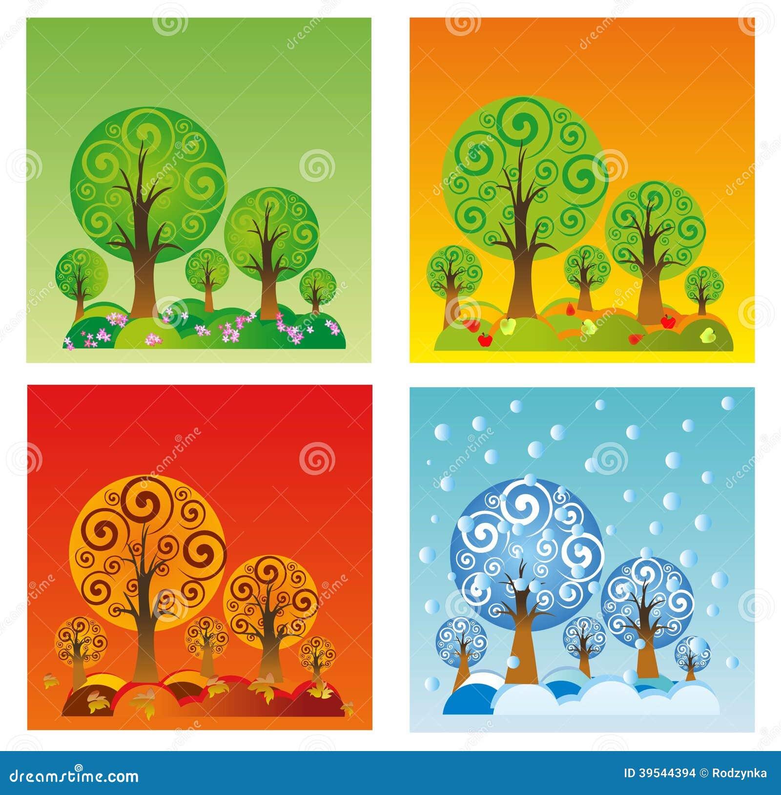 Les quatre saisons illustration stock image du bleu for Le jardin des 4 saisons pusignan