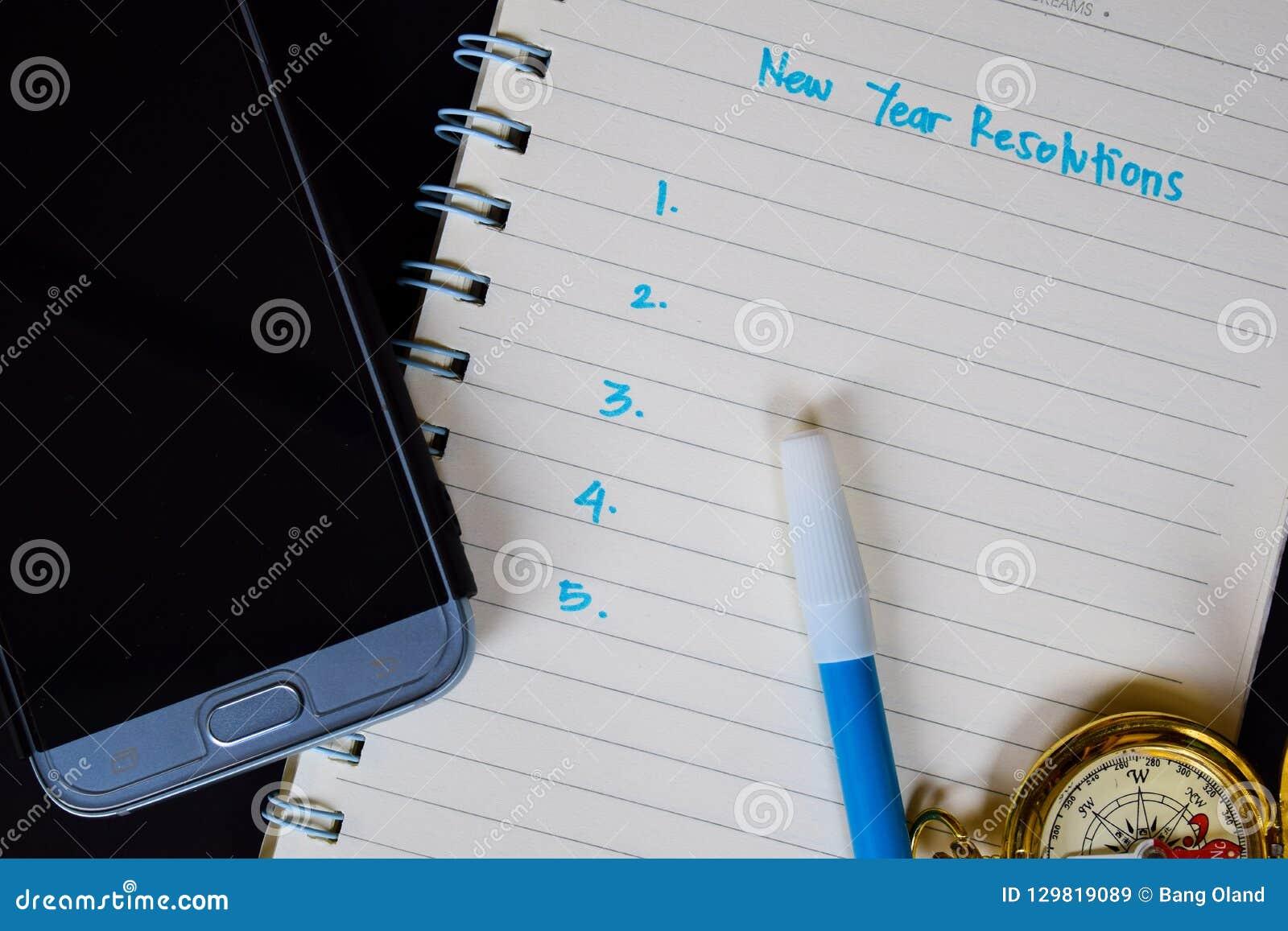 Les résolutions de nouvelle année textotent sur le carnet