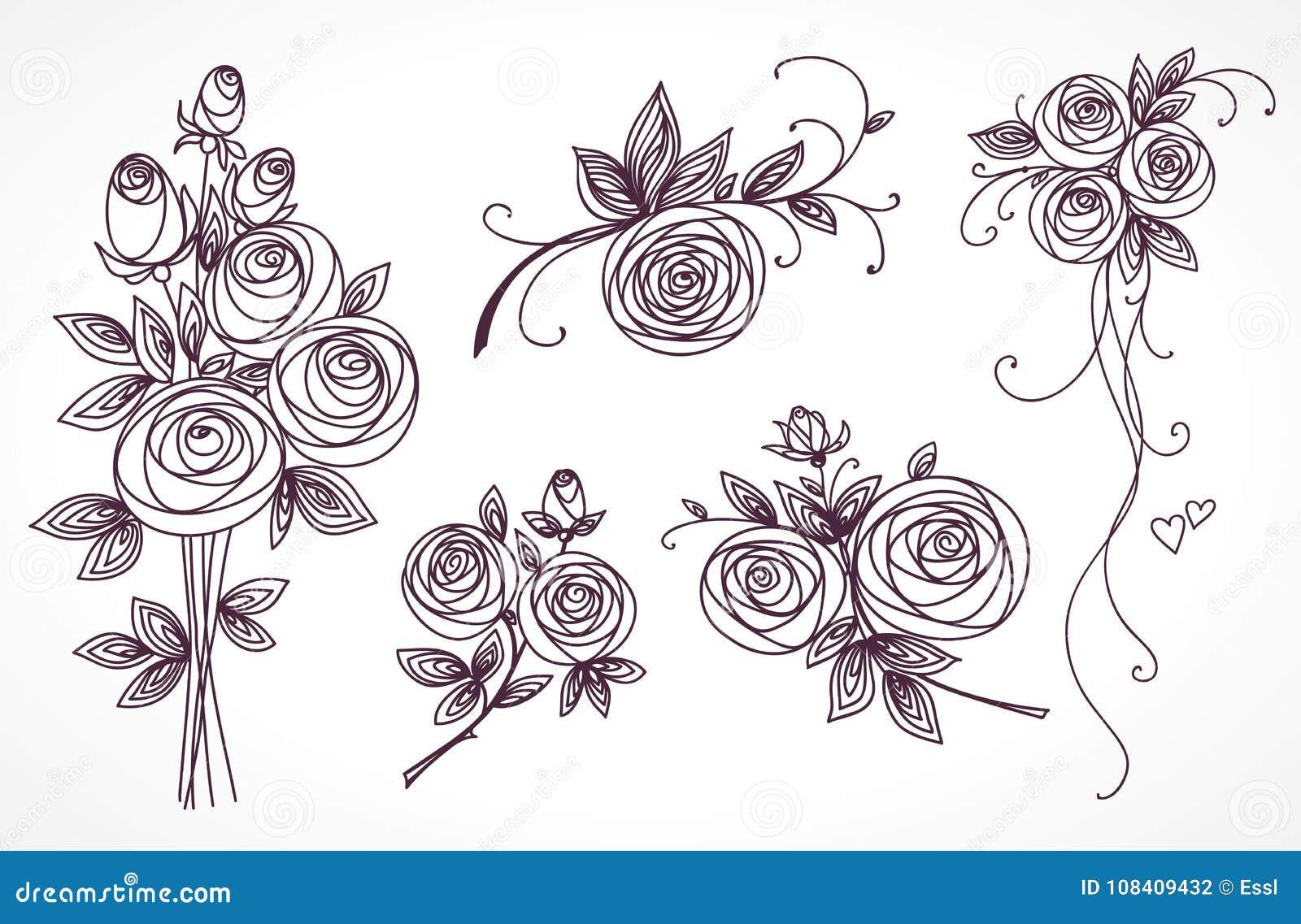 Les Roses Ont Placé Collection De Bouquets De Roses Dessin