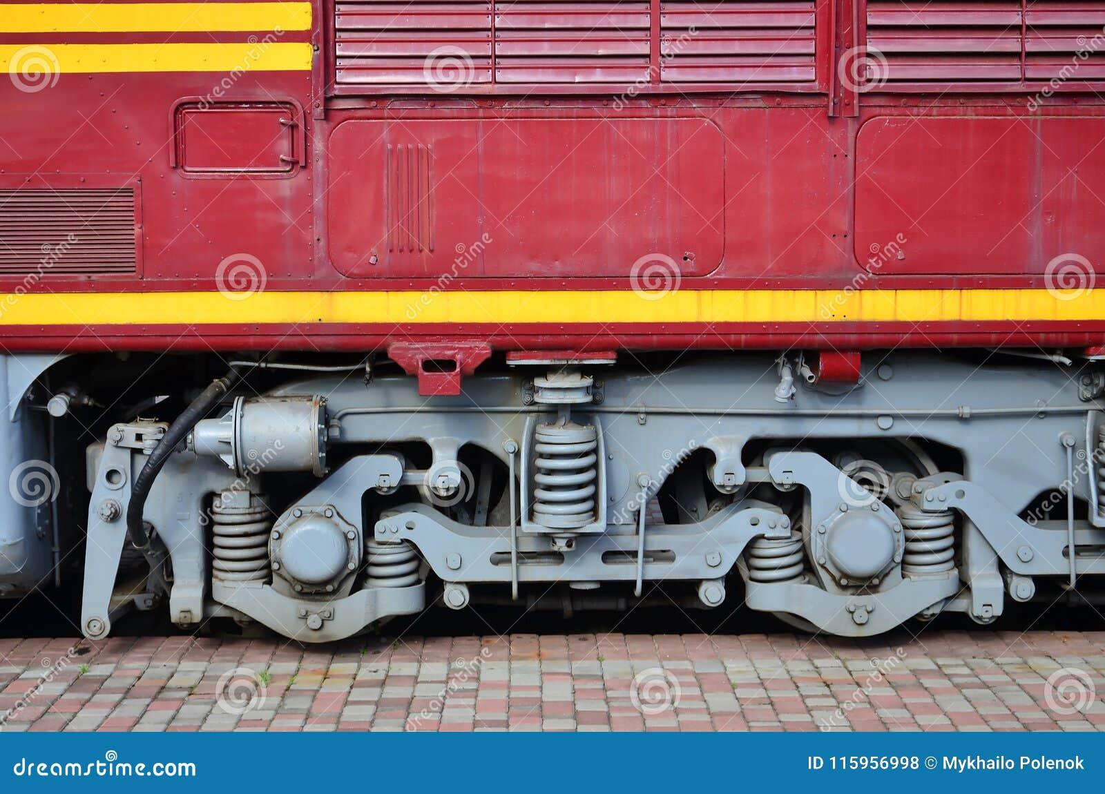 Les roues d un train électrique russe moderne avec des amortisseurs et des dispositifs de freinage Le côté du Ca