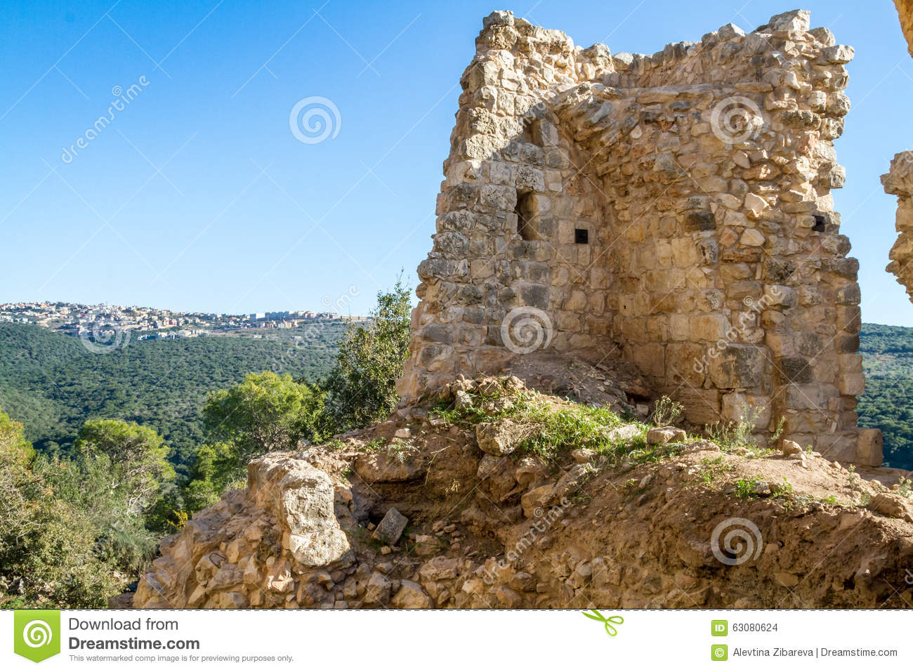 Download Les Ruines De La Forteresse De Yehiam, Israël Photo stock - Image du vieux, fort: 63080624