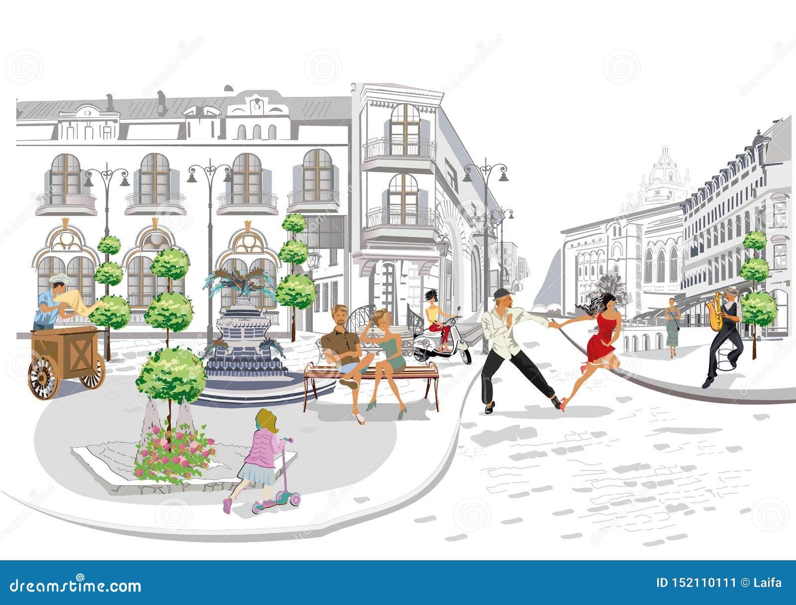 Les s?ries des caf?s de rue avec les personnes de mode, hommes et femmes, dans la vieille ville, dirigent l illustration