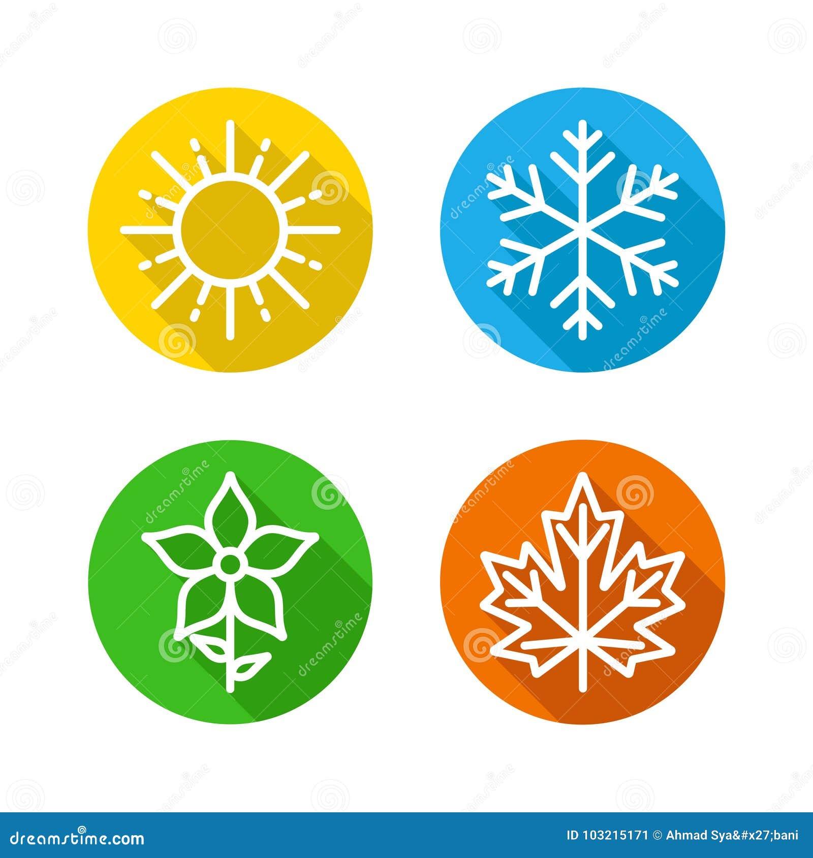 Les saisons ont placé les icônes colorées - les saisons - été, hiver, printemps et automne - signe de prévisions météorologiques
