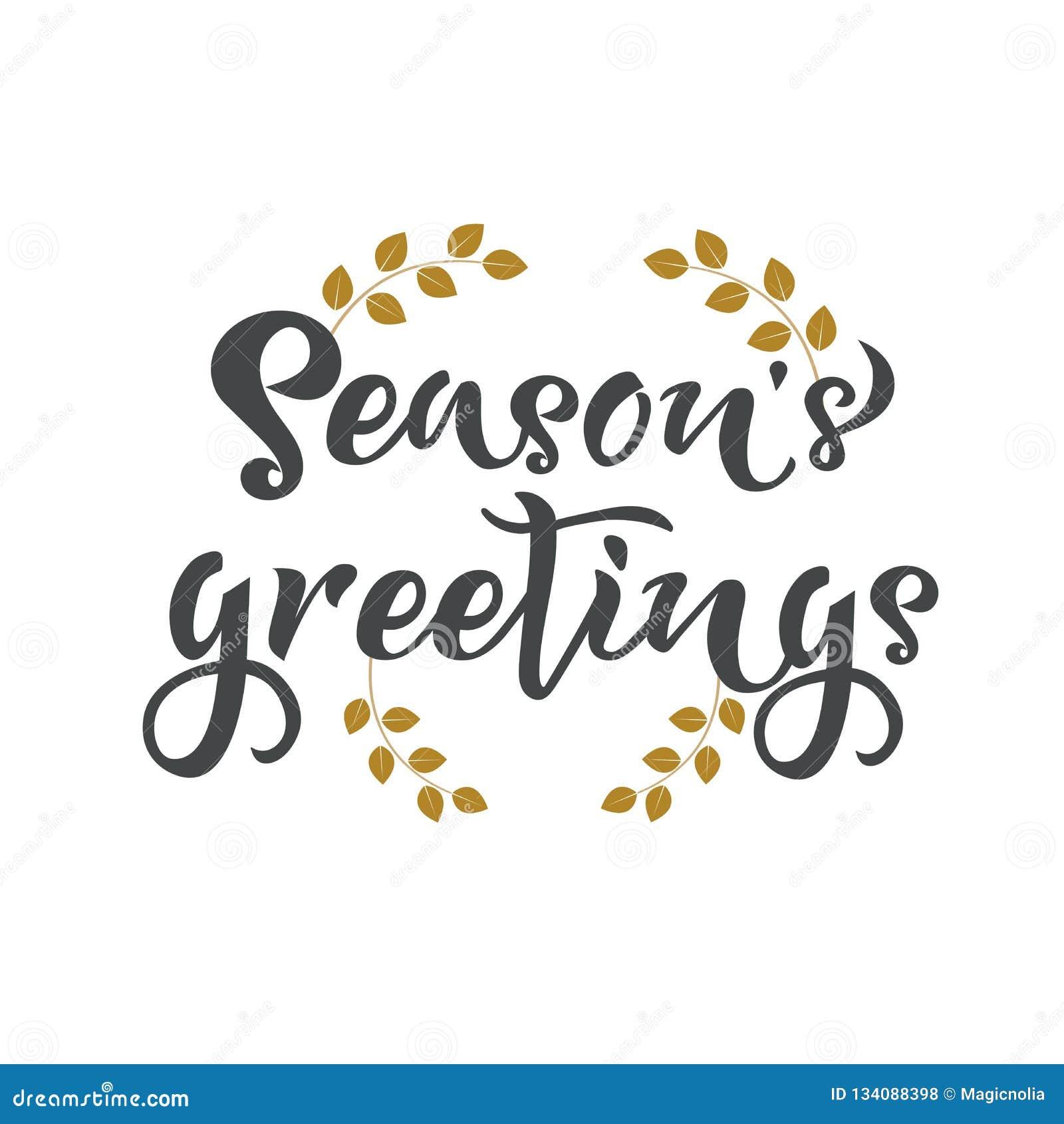 Les salutations de saisons remettent écrire le texte Calligraphie, conception de lettrage Typographie pour des cartes de voeux, a