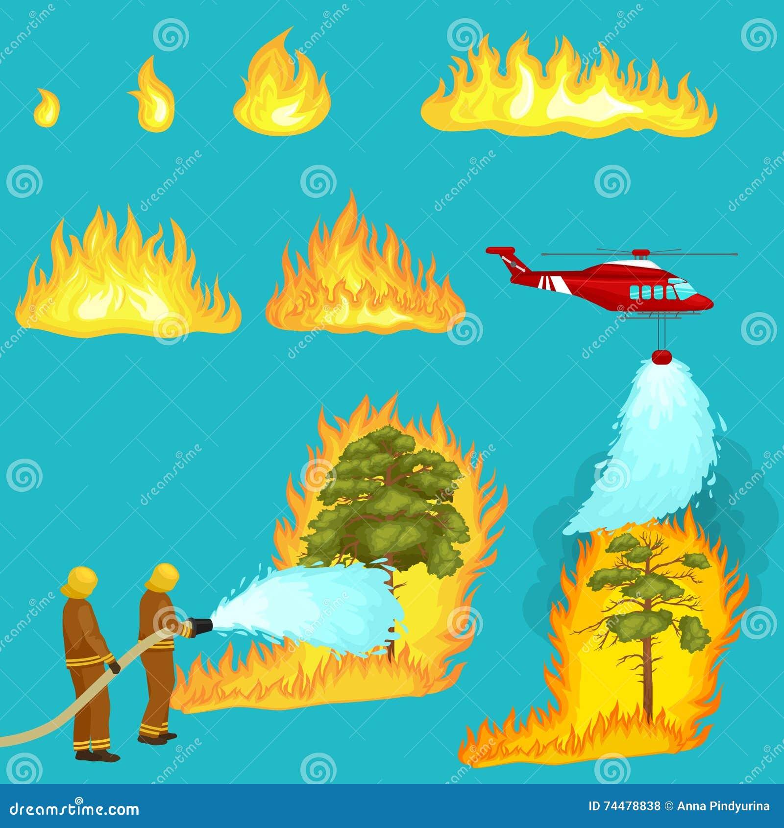 Les sapeurs-pompiers dans les vêtements de protection et le casque avec l hélicoptère s éteignent avec de l eau du feu de forêt d