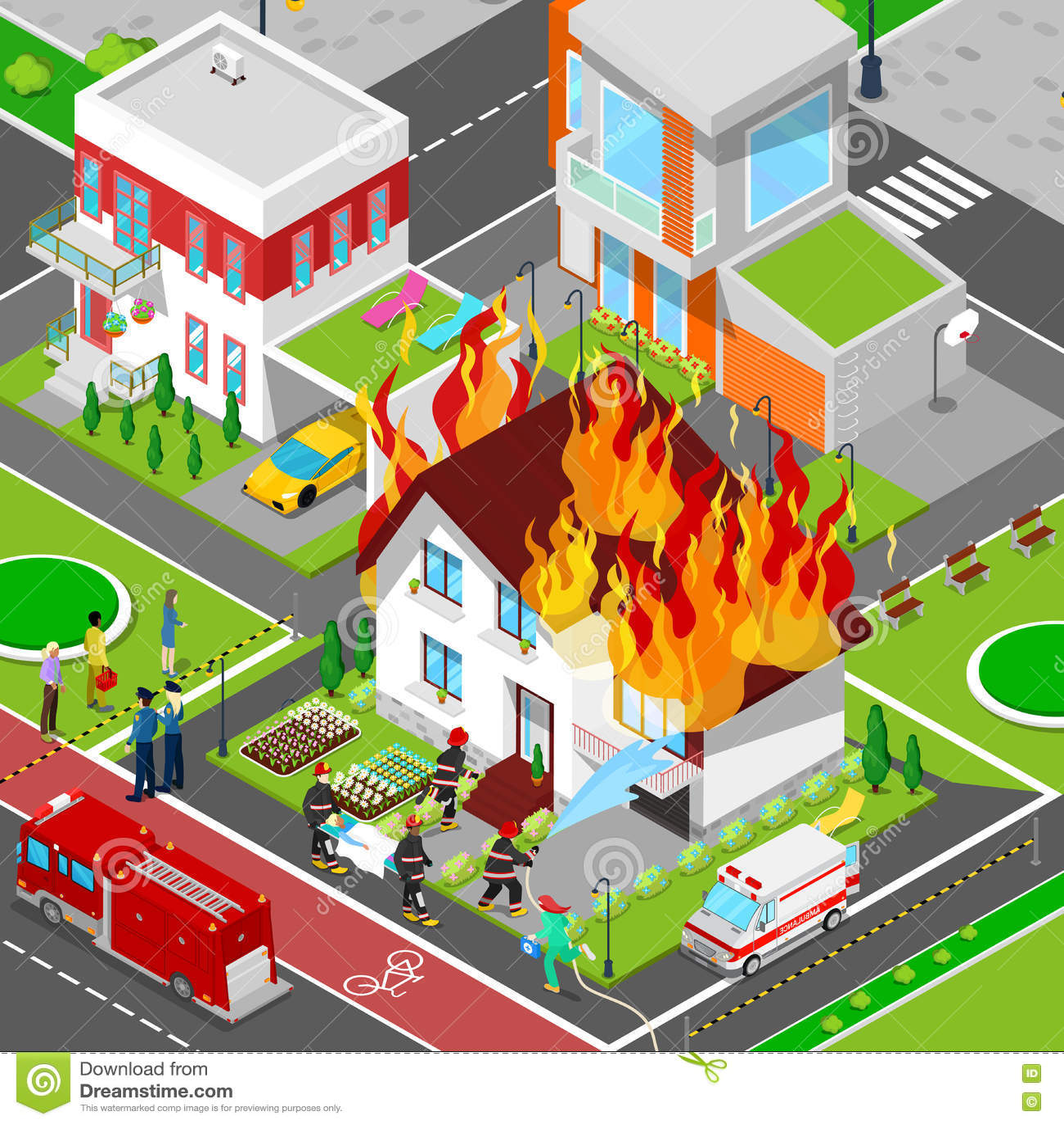 Les sapeurs-pompiers s éteignent un feu dans la ville isométrique de Chambre Les aides de pompier ont blessé la femme