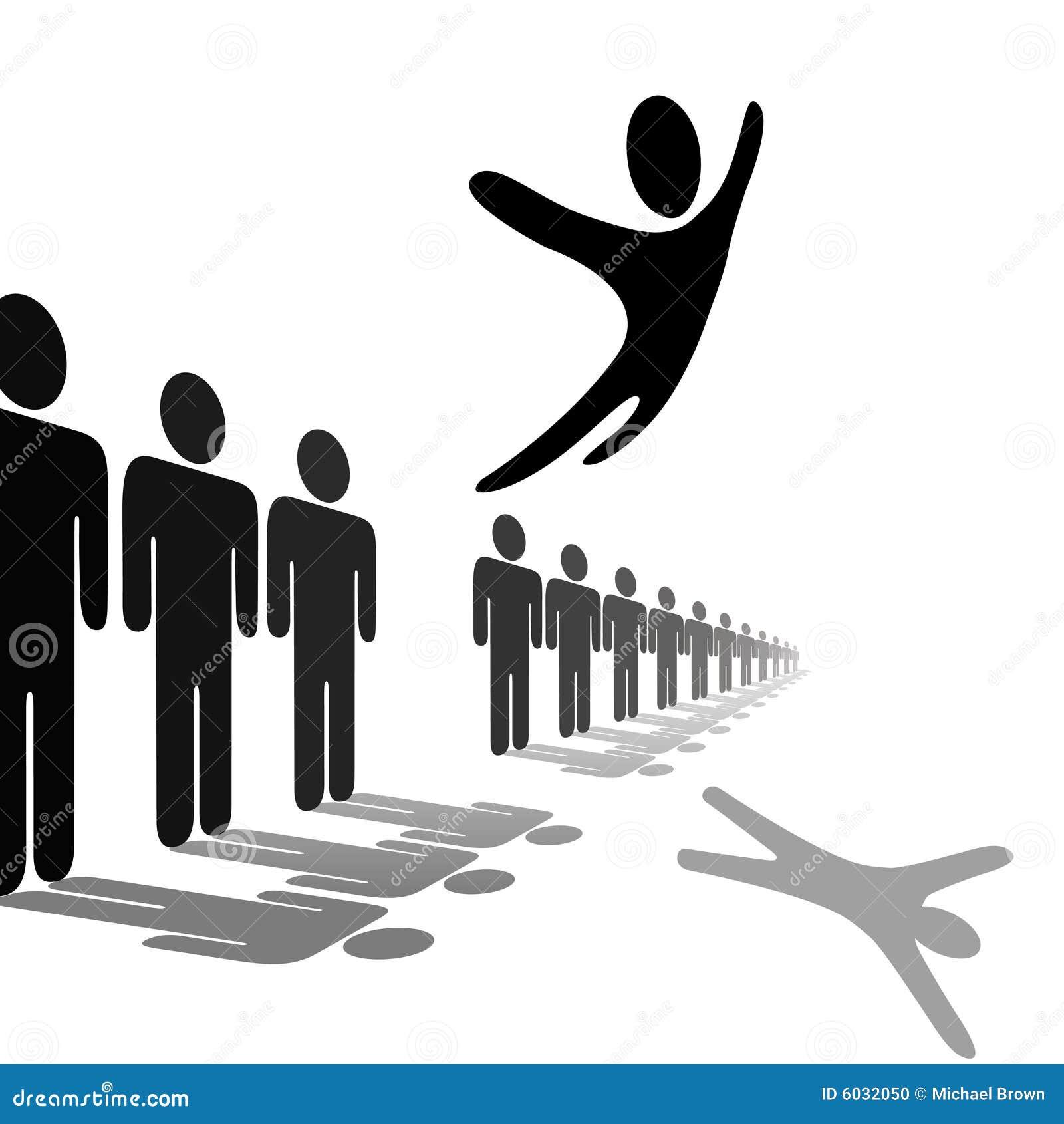 Les sauts de personne de symbole hors de la ligne monte au-dessus des gens
