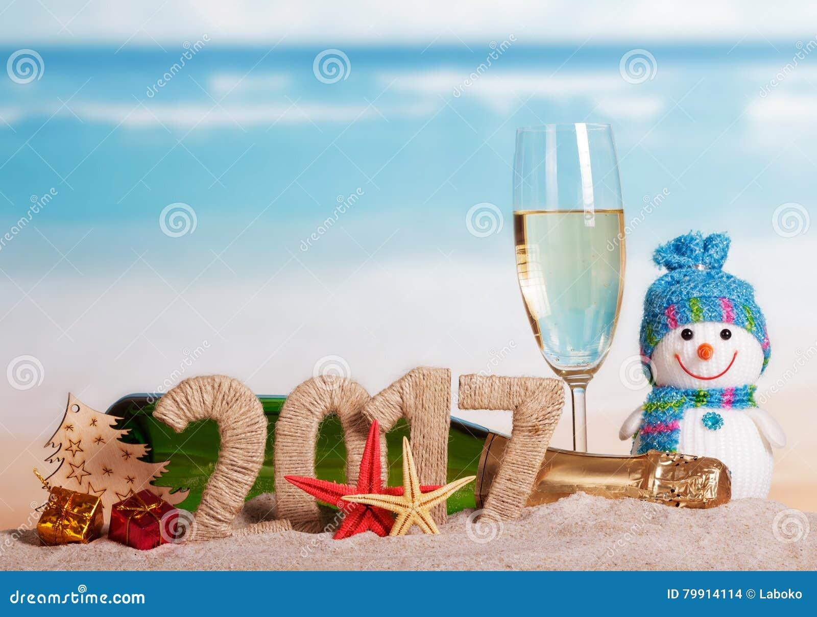 Les sch mas 2017 bouteille de champagne verre bonhomme de neige arbre de no l contre la mer - Bonhomme de neige verre plastique ...