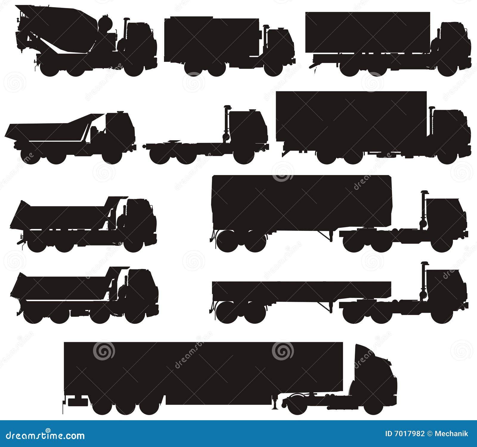 Les silhouettes de camion de vecteur ont placé