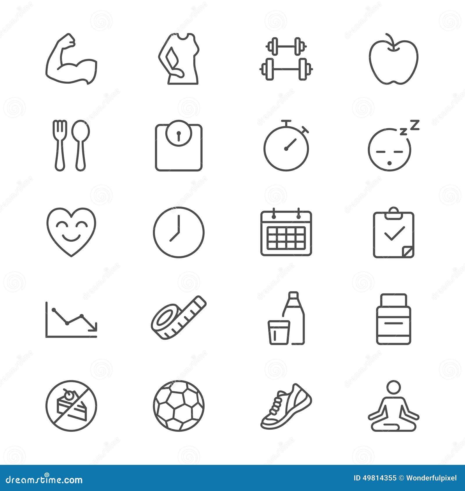 Les soins de santé amincissent des icônes