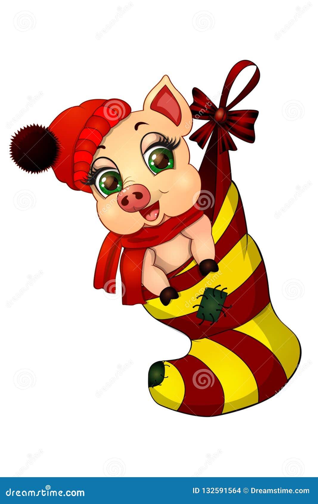 Les souhaits porcins de nouvelle année vous un heureux et porter bonheur pour les vacances