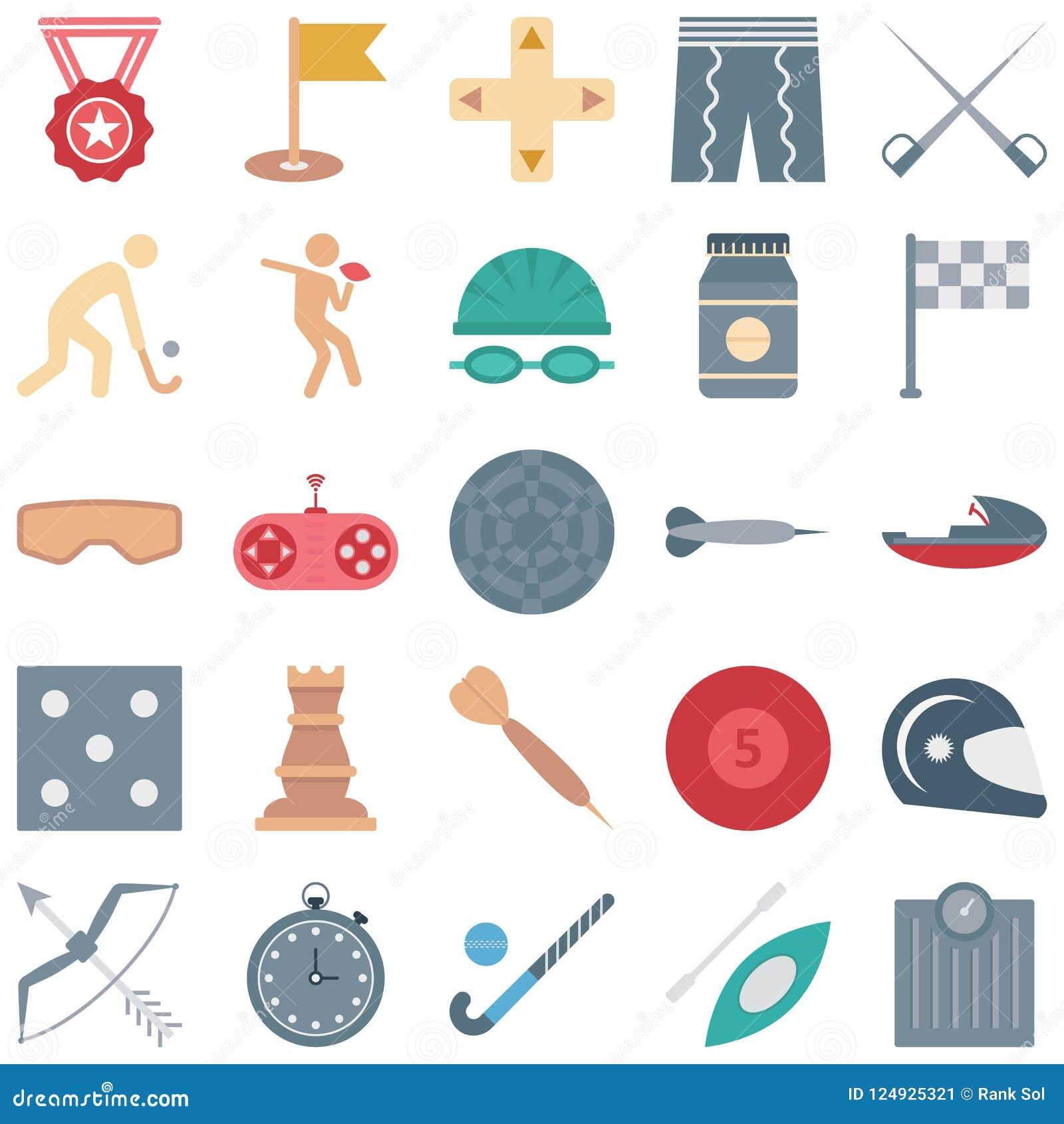 Les sports et les icônes de vecteur d isolement par jeu consiste la médaille, l hockey, le gamepad, le drapeau et beaucoup plus,