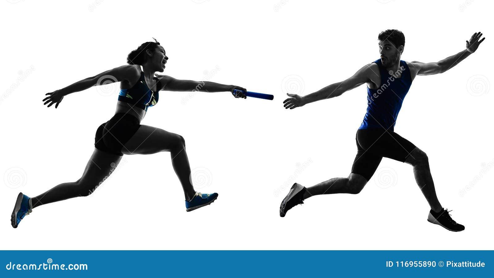 Les sprinters de coureurs de relais d athlétisme courant des coureurs ont isolé le silho
