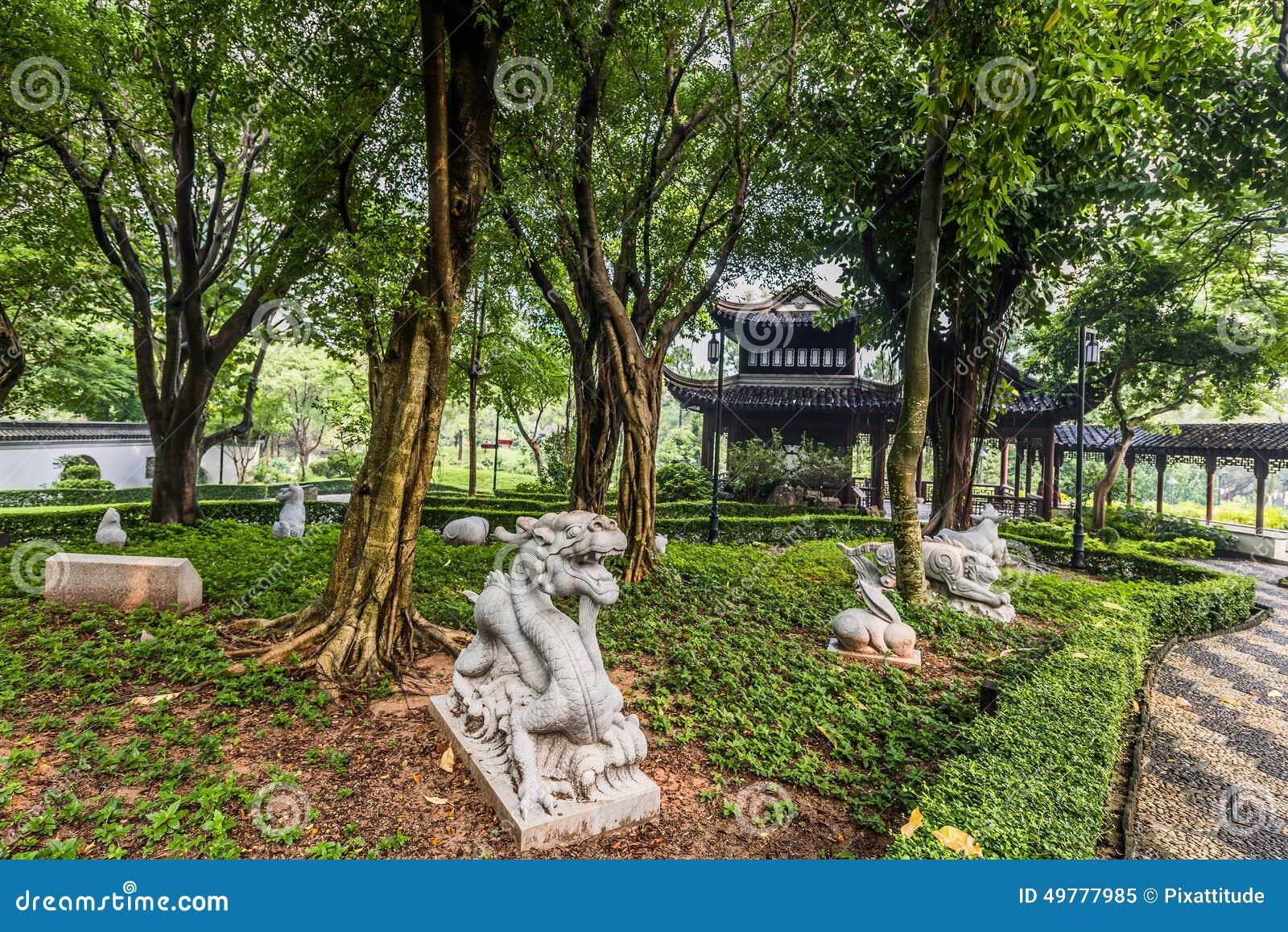 Les statues chinoises Kowloon de jardin de zodiaque ont muré le parc Hong Kong de ville