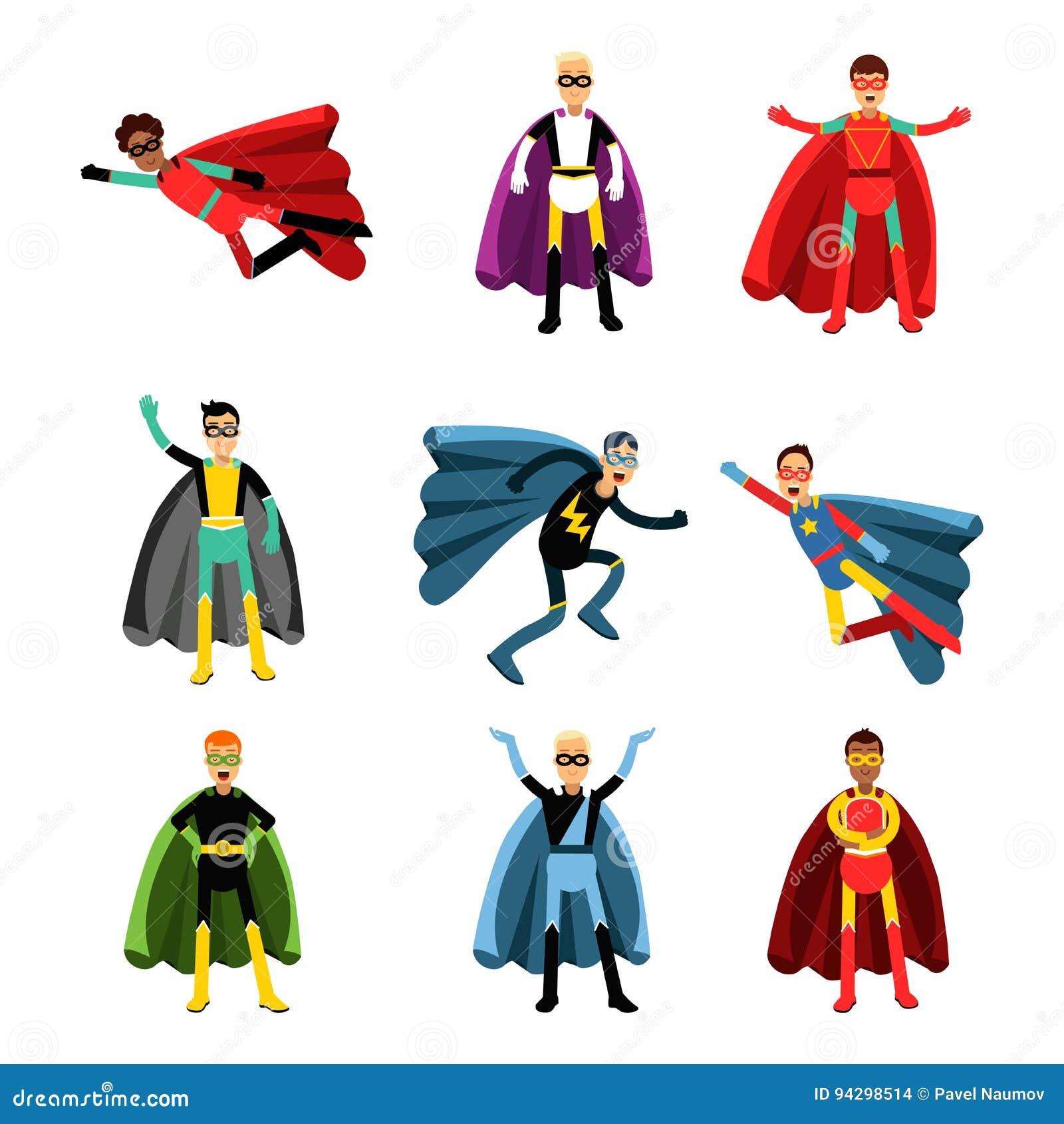 Les super héros masculins dans différents costumes ont placé des illustrations colorées de vecteur