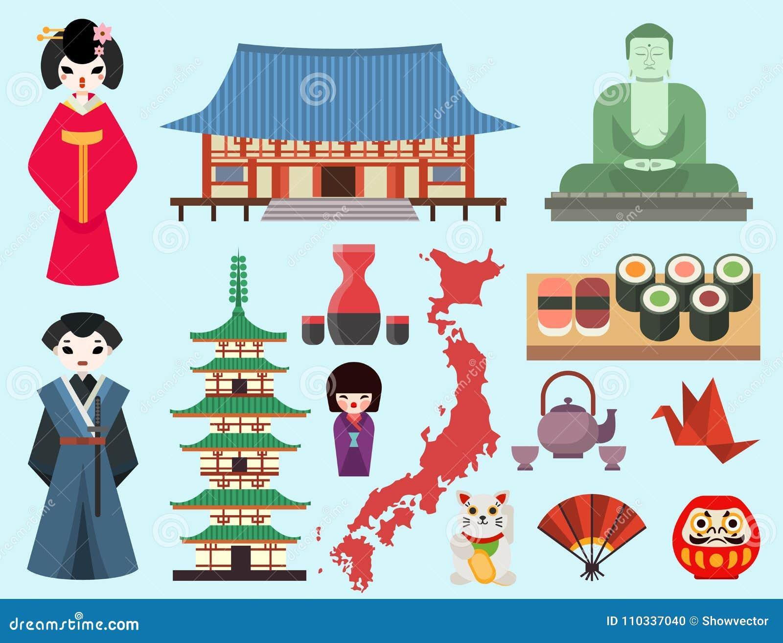 Les symboles colorés par appartement de vecteur du voyage du Japon et du tourisme de l Asie conçoivent le tissu Fuji traditionnel